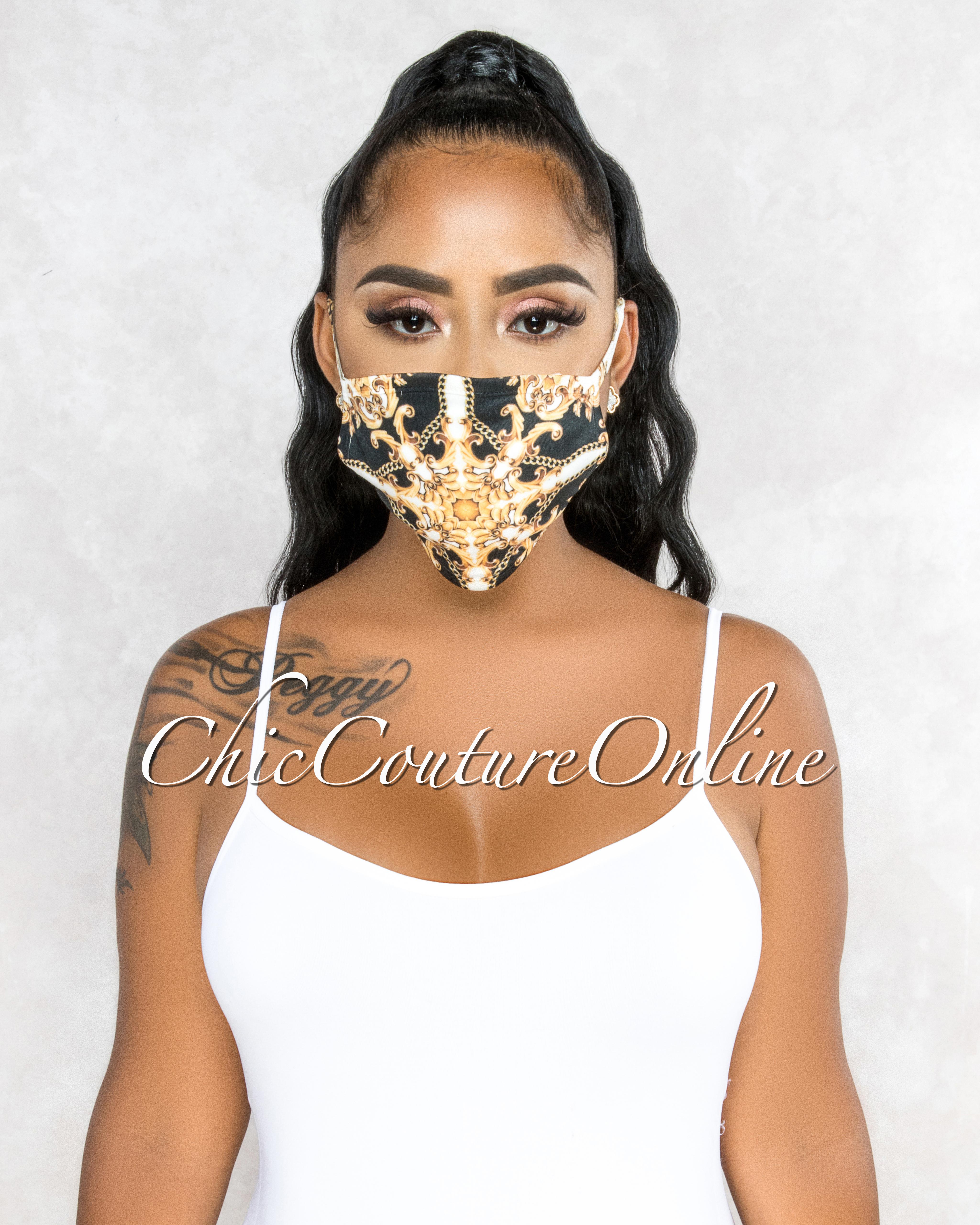 Cassia Black Gold White Print Fashion Mask