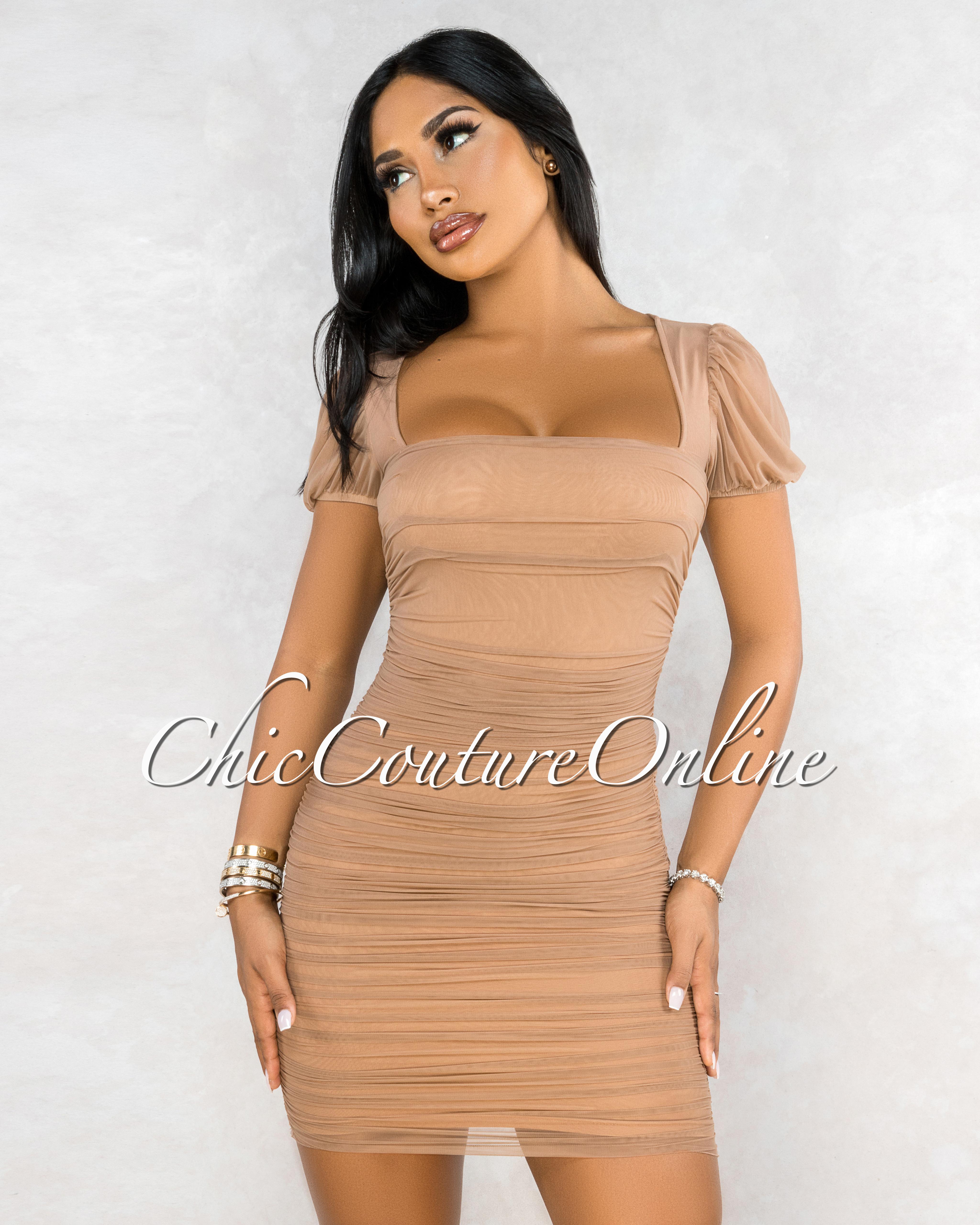 Katrina Nude Mesh Square Neckline Ruched Midi Dress