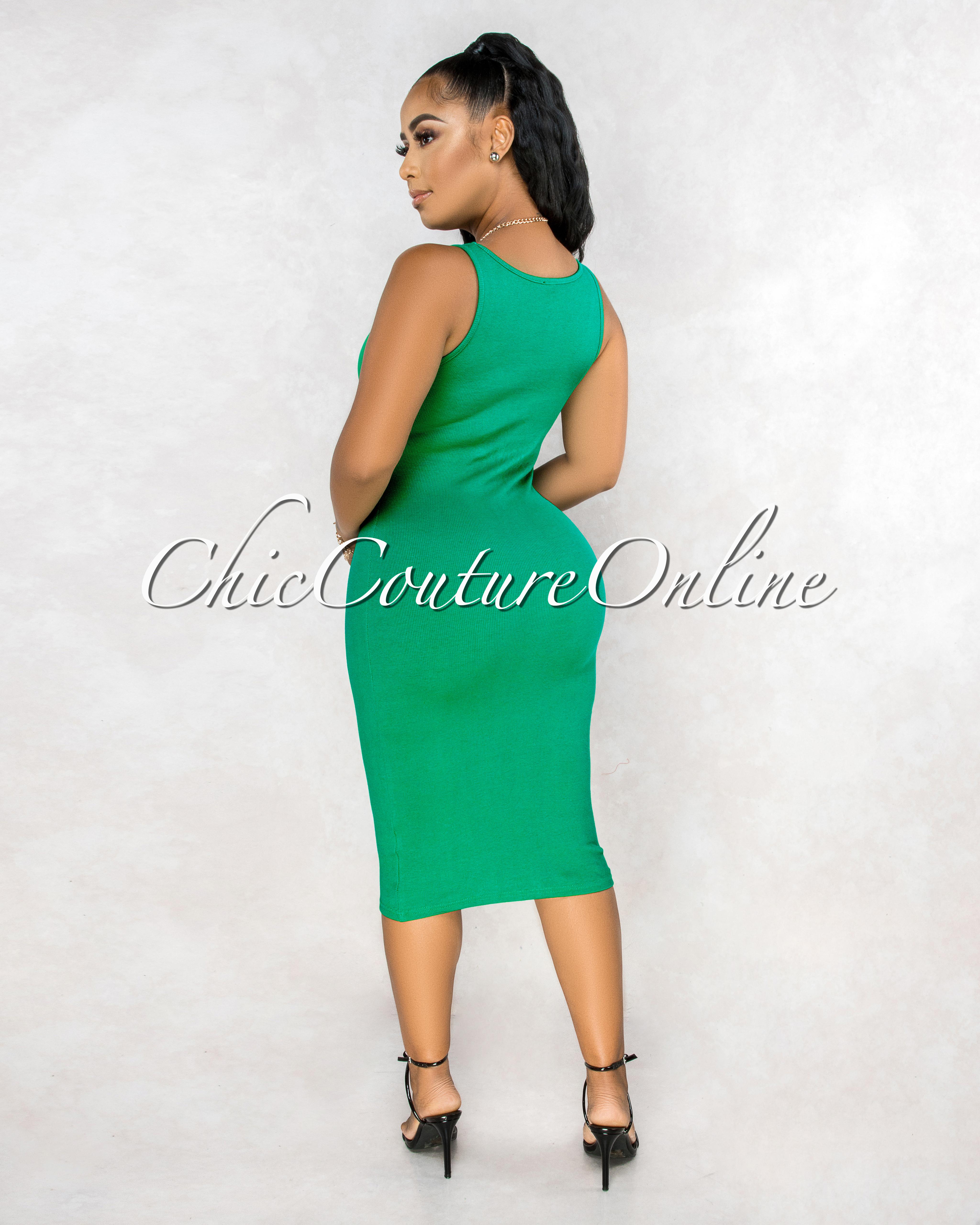 Rickie Emerald Green Ribbed Tank Midi Dress