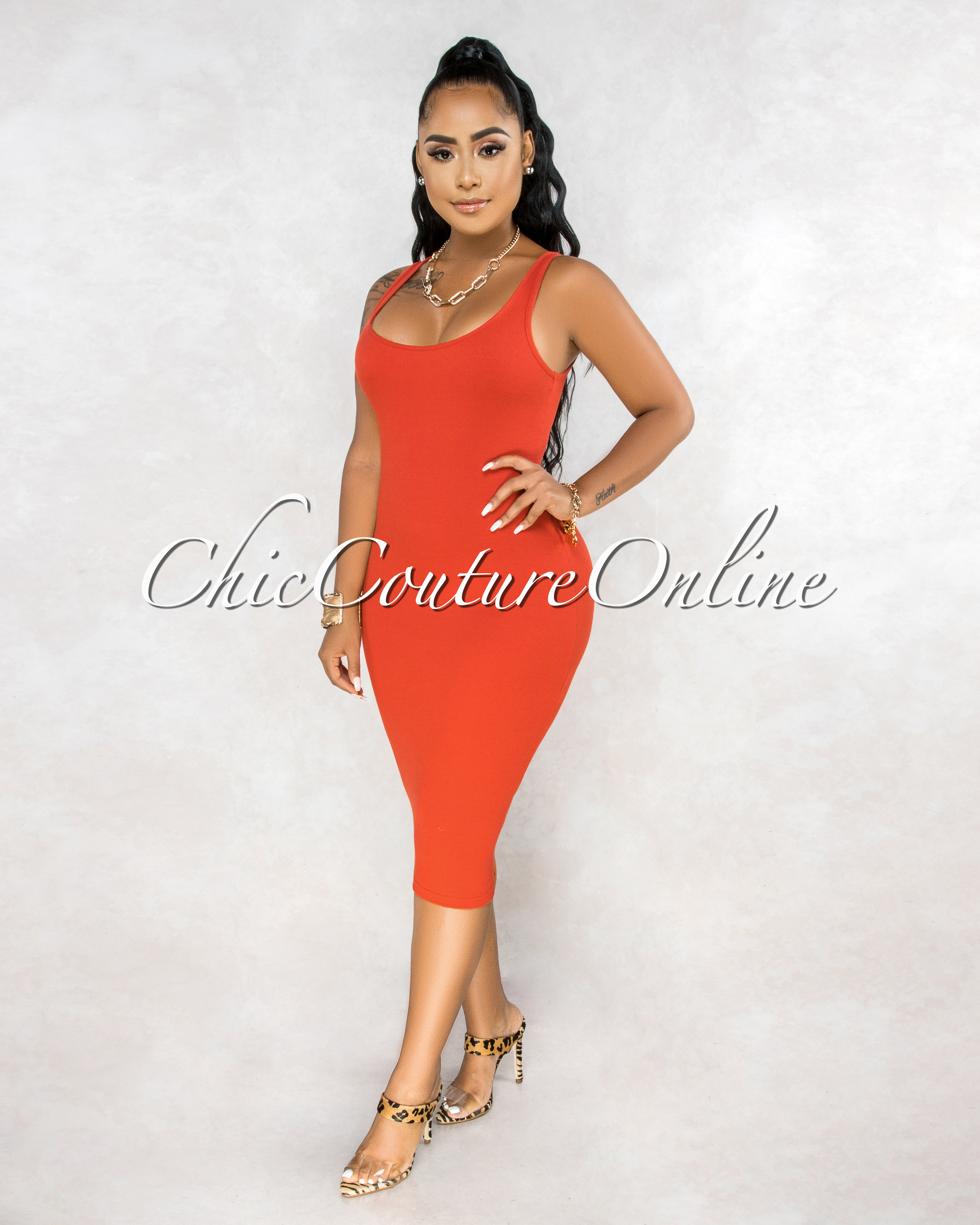 Rickie Rust Orange Ribbed Tank Midi Dress