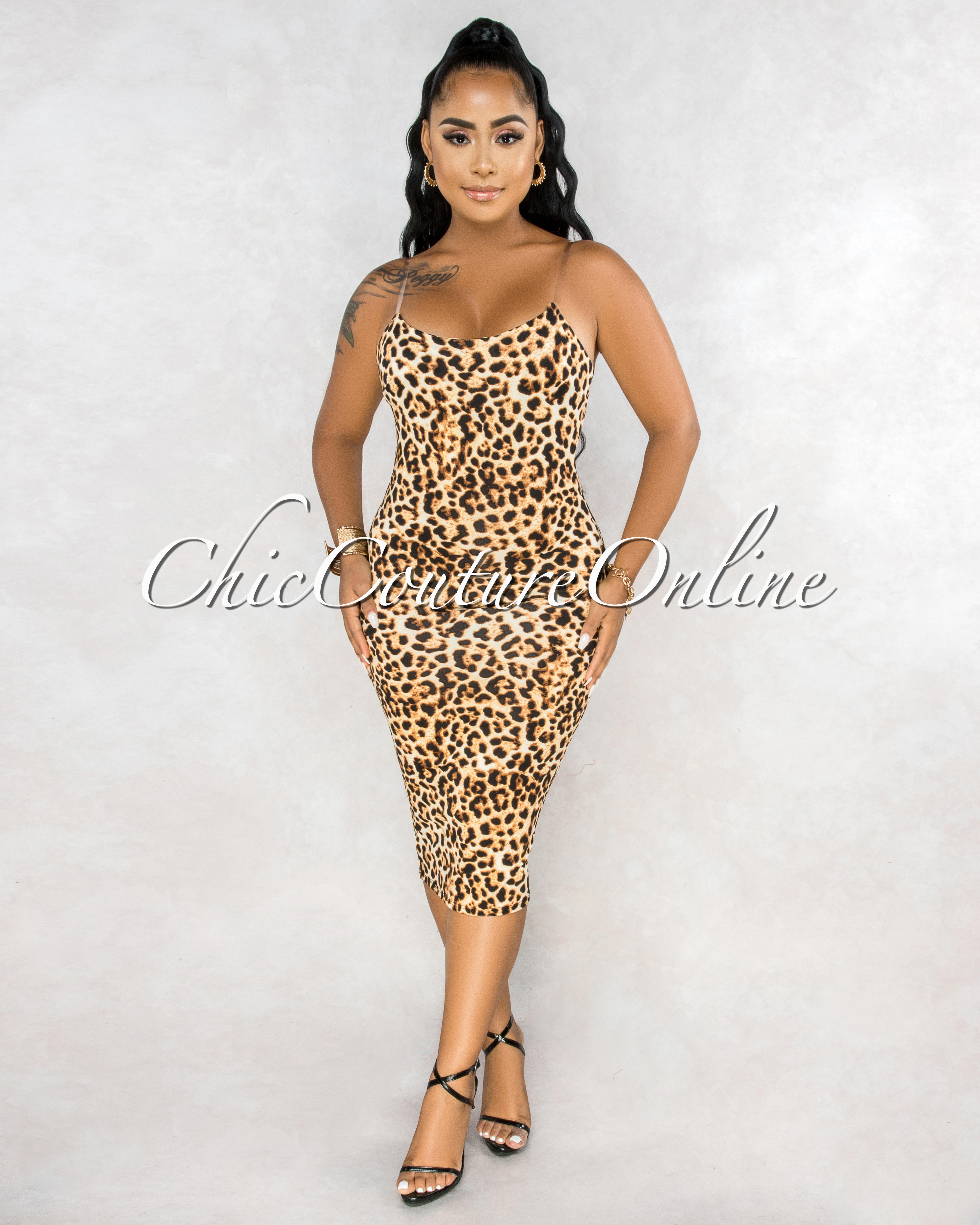 Mosley Leopard Print Clear Straps Midi Dress