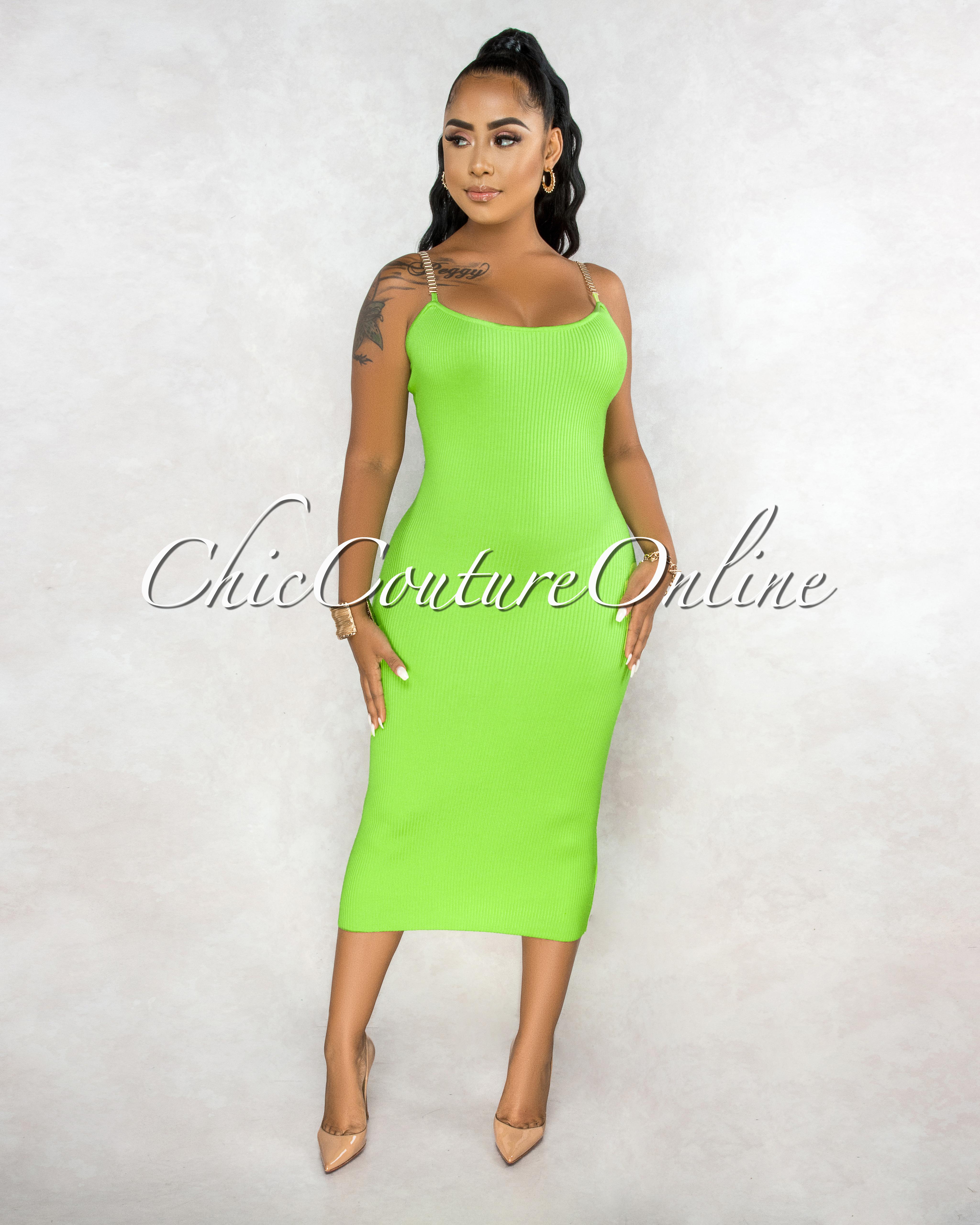 Paulina Lime Green Ribbed Golden Link Straps Midi Dress