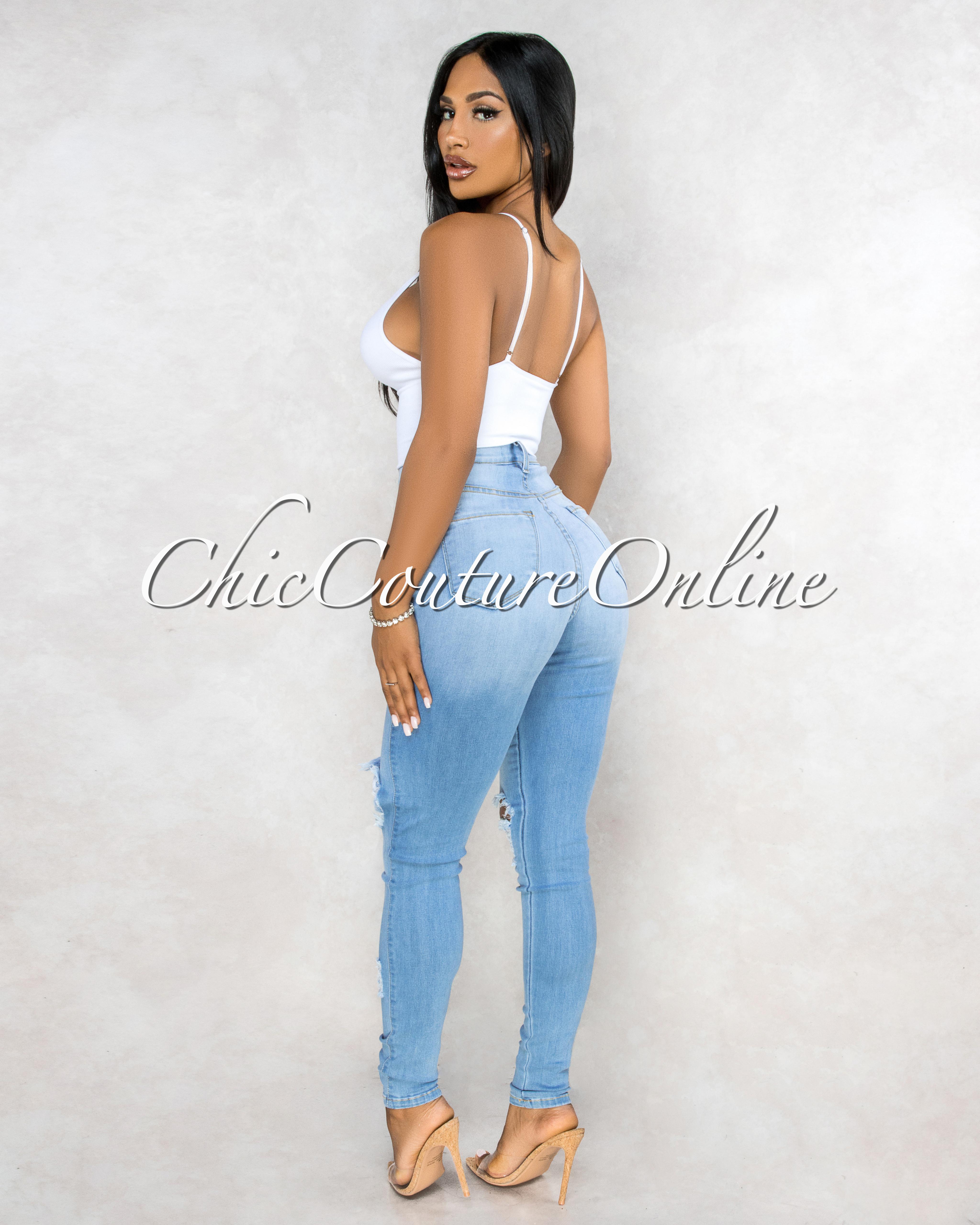 Sannie Light Denim Destroyed Denim Mid Waist Jeans