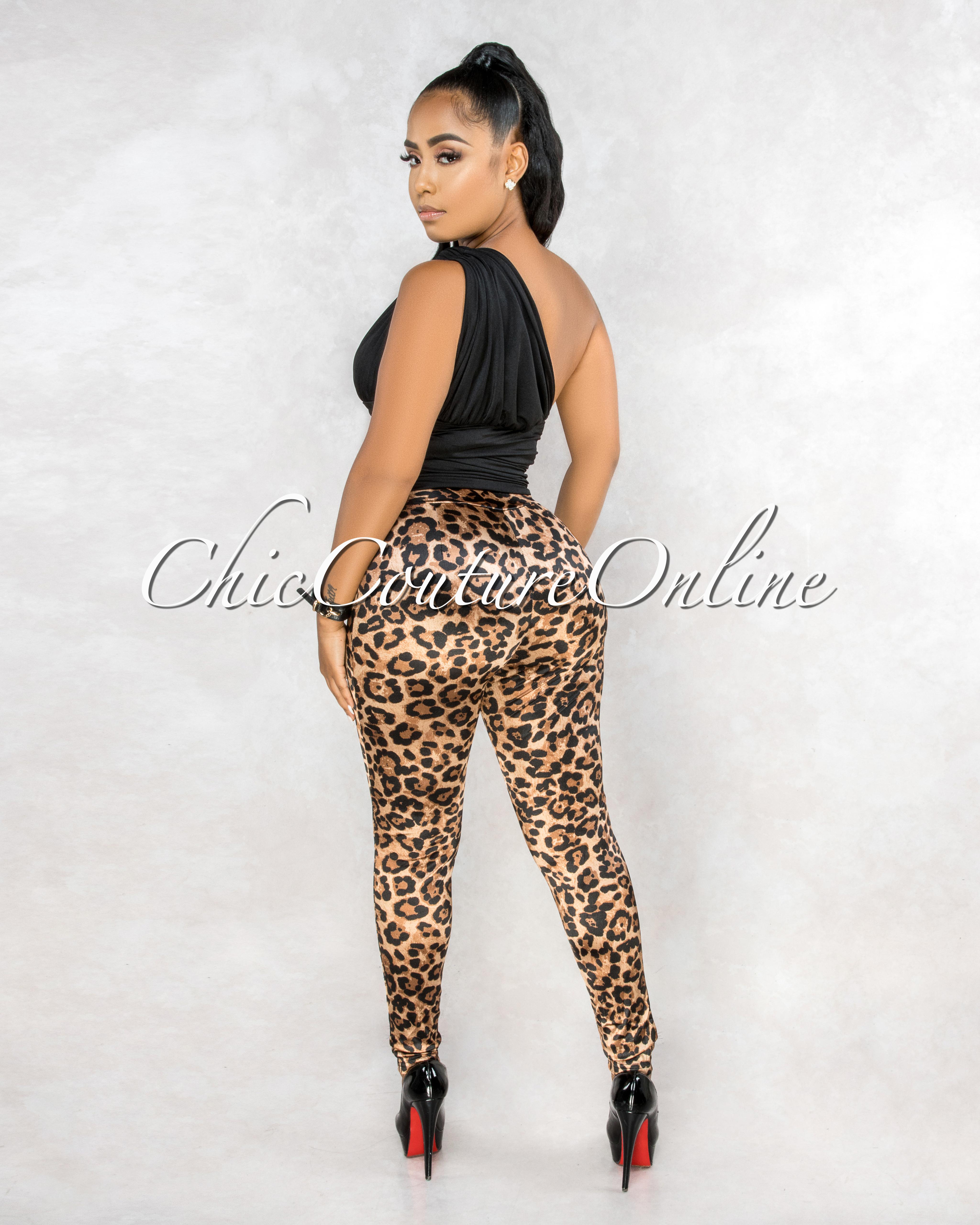 Arnolda Leopard Print High Waist Front Zipper Silky Leggings