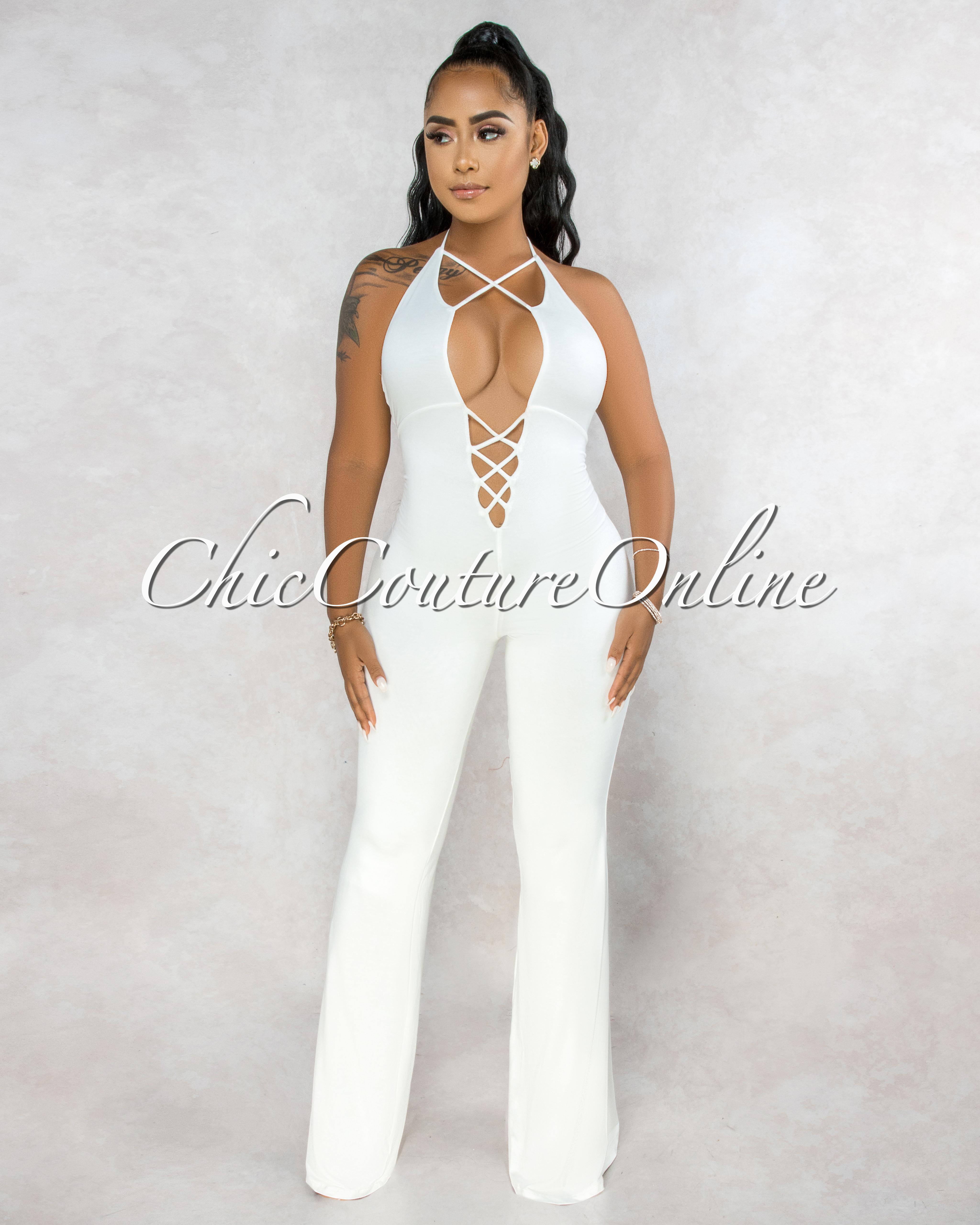 Elianta Off-White Front Strappy Cut-Out Bell Legs Jumpsuit