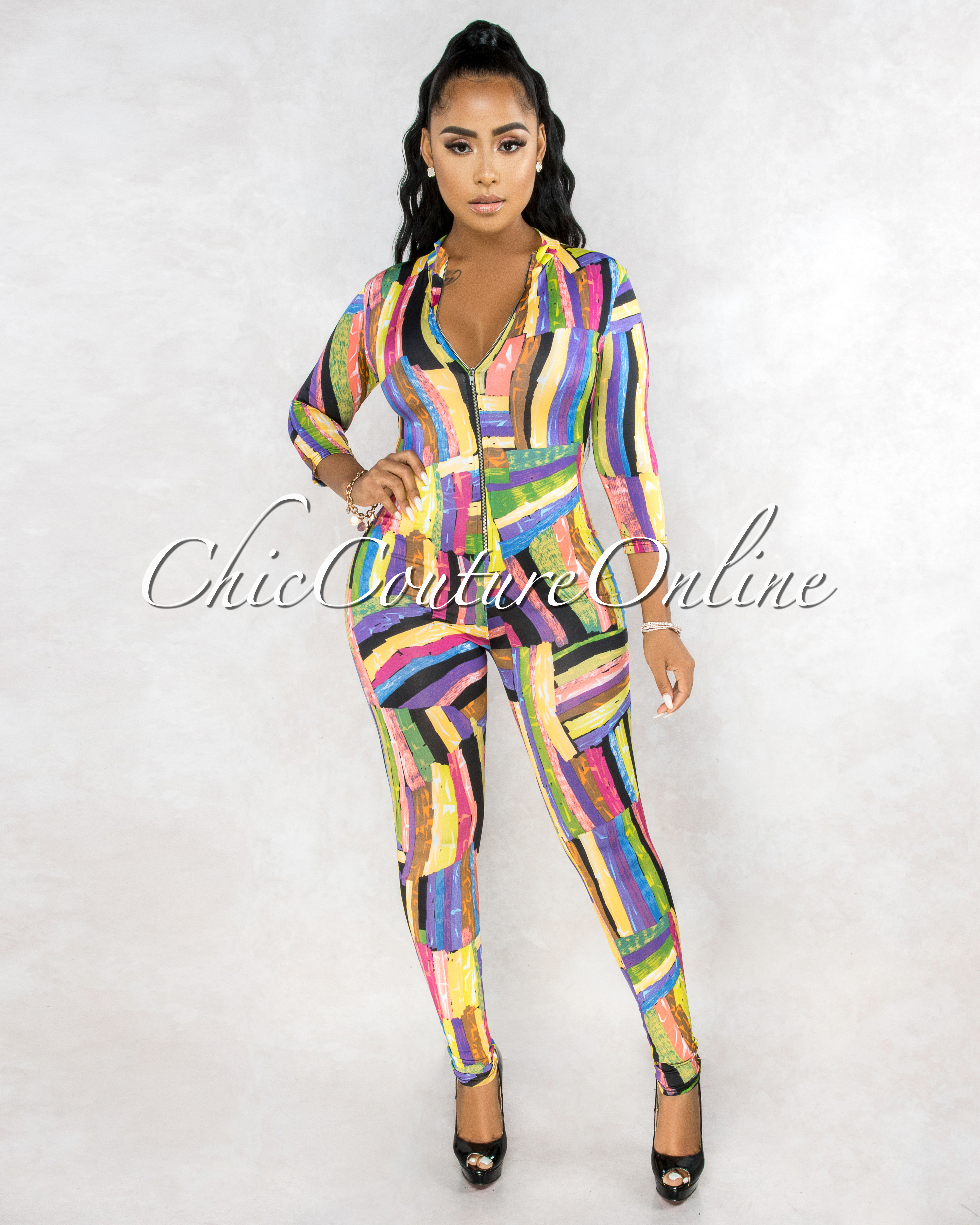 Diondra Multi-Color Abstract Front Zipper Jumpsuit