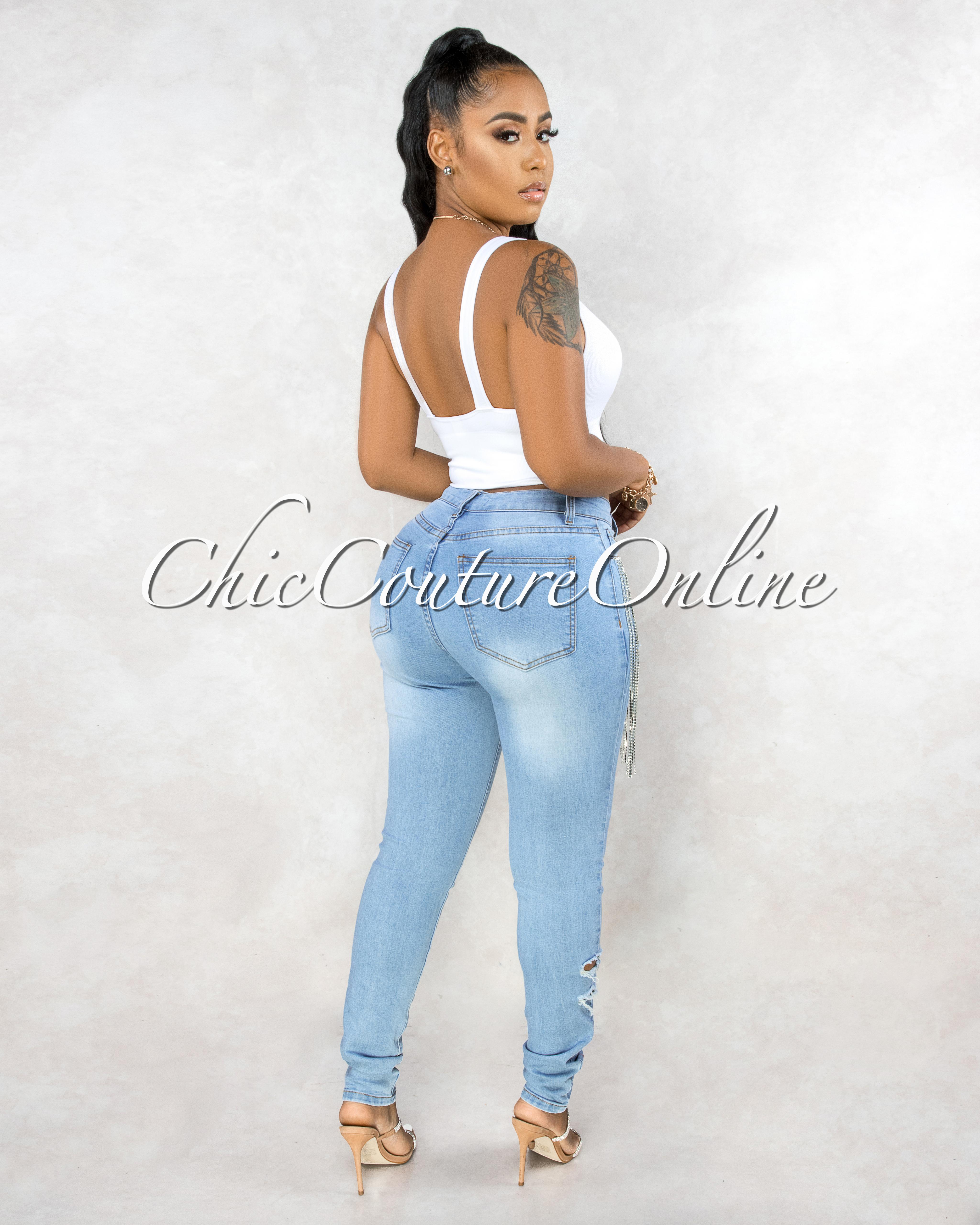 Katana Light Blue Denim Distressed Rhinestones Fringe Jeans