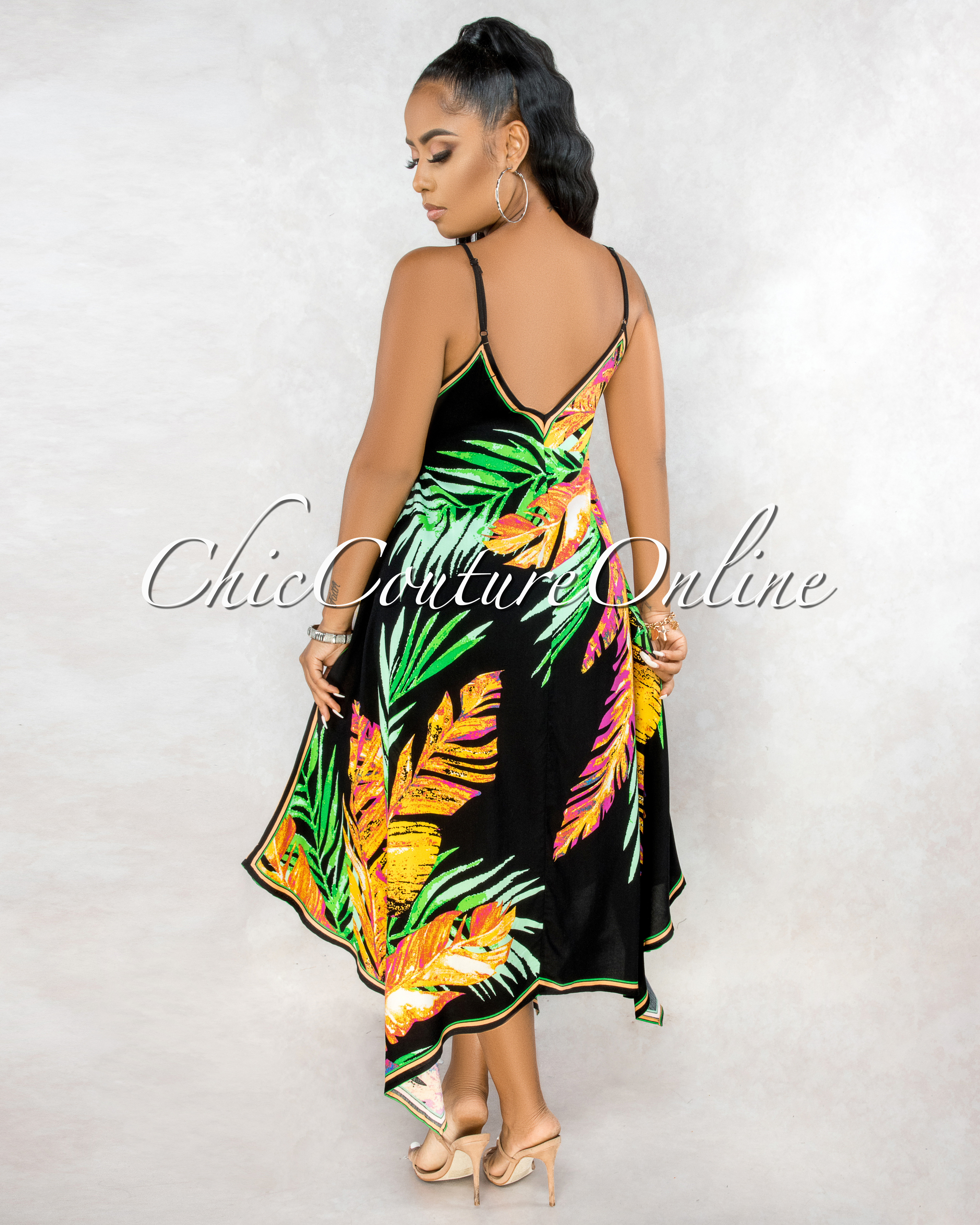 Esmena Black Pink Green Leaf Print Hi Lo Maxi Dress