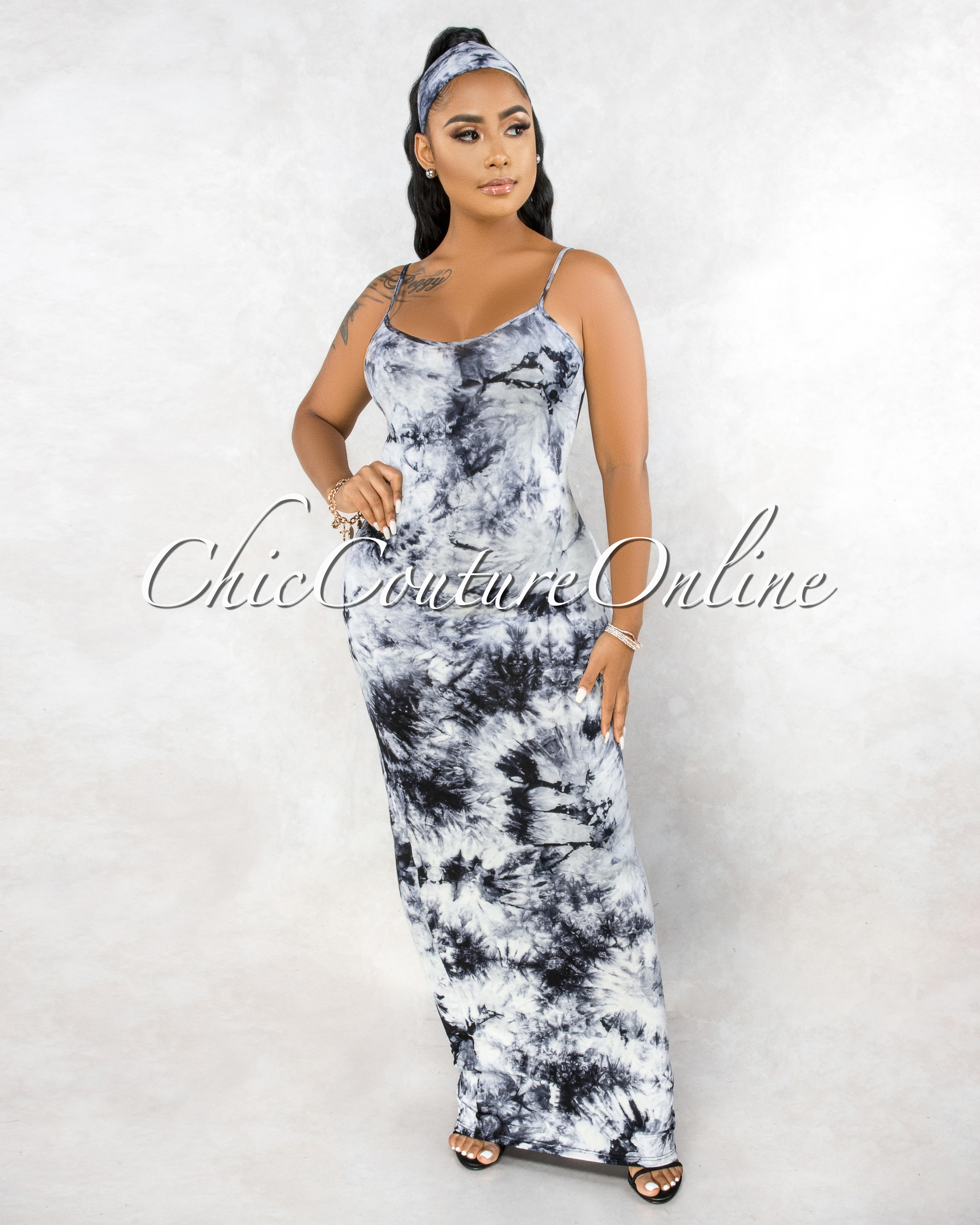 Jestina Black White Tie-Dye Self Tie Belt & Mask Maxi Dress