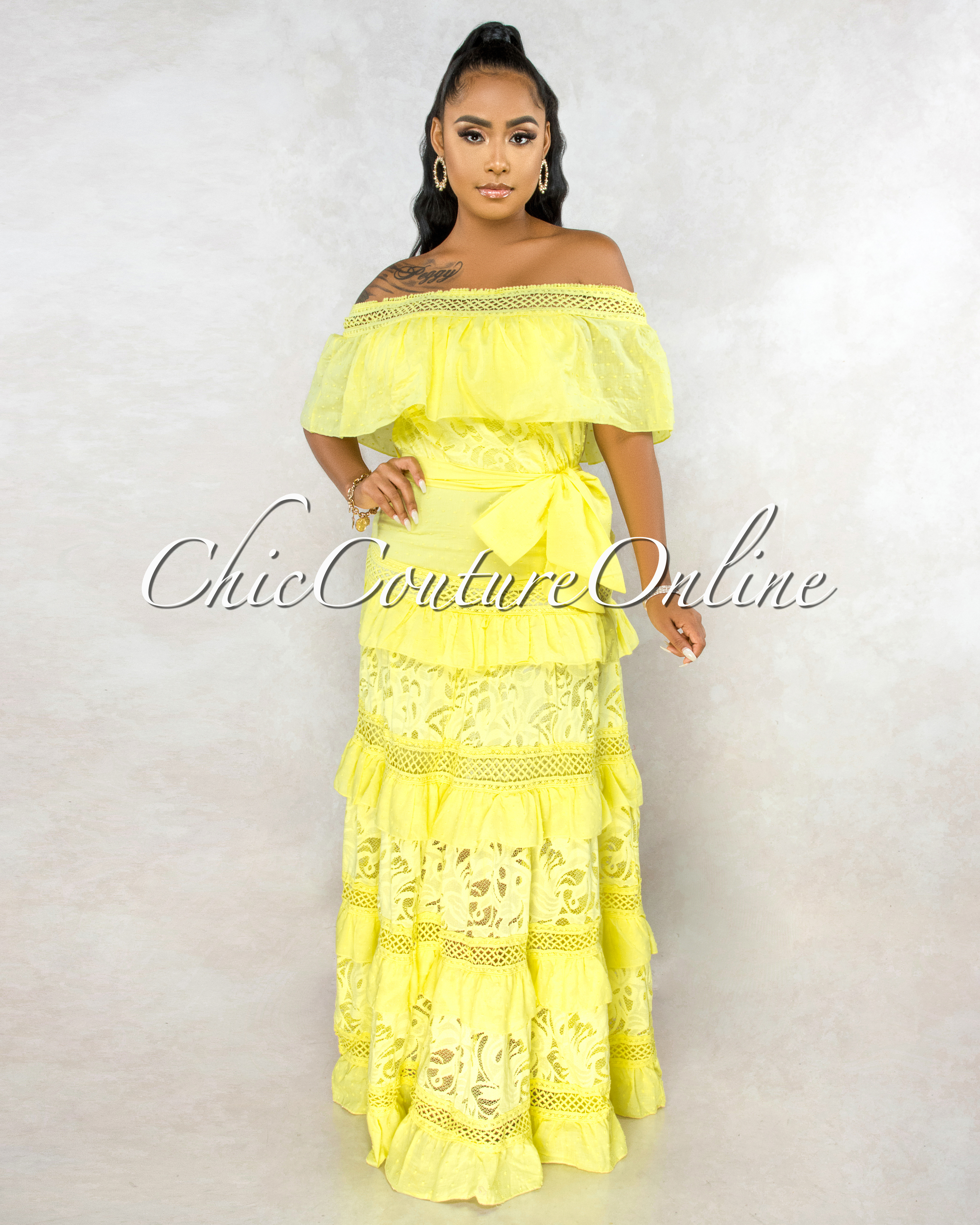 Ernestina Yellow Crochet Lace Self-Tie Belt Maxi Dress