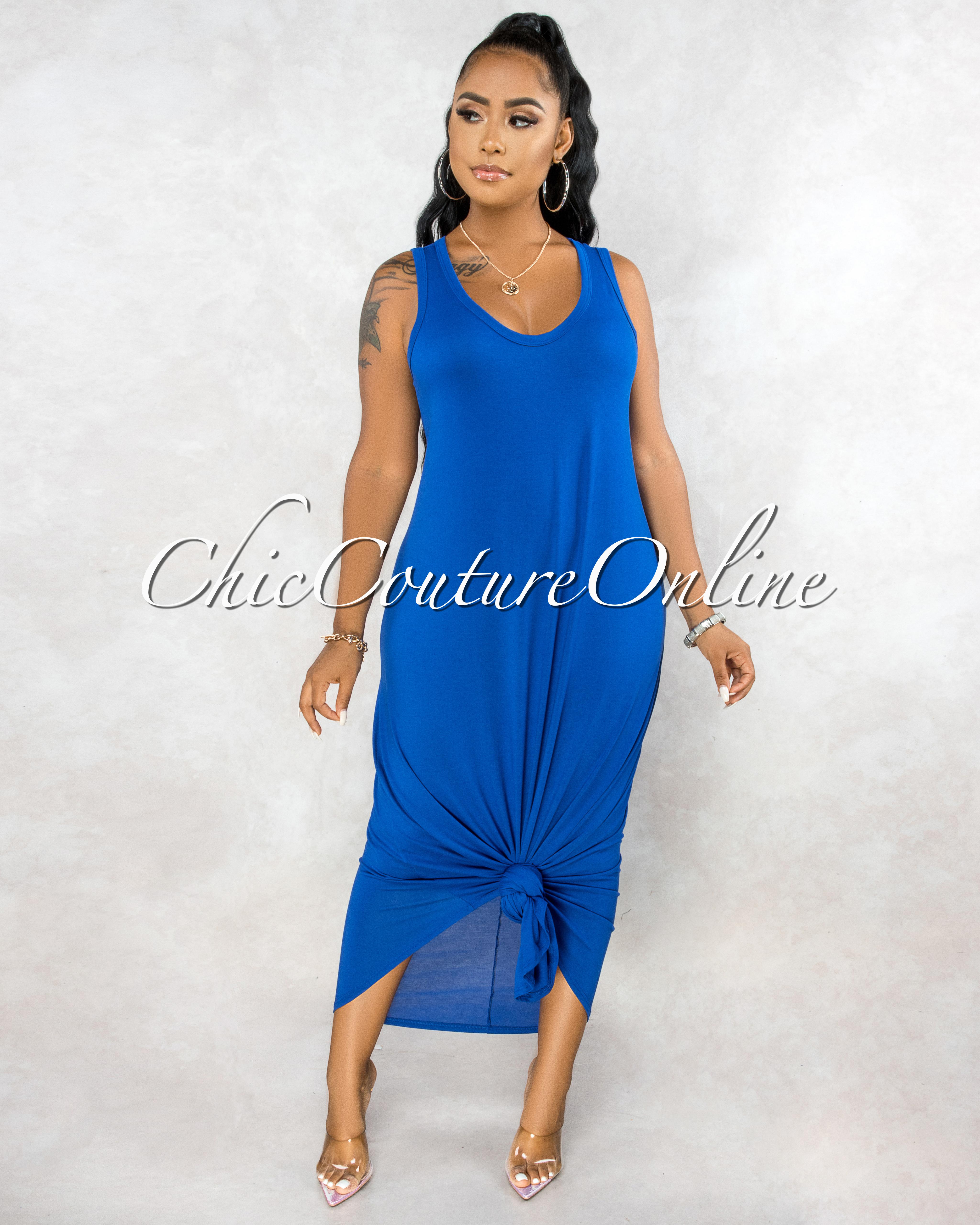 Adonia Royal Blue Body-Con Tank CURVACEOUS Maxi Dress