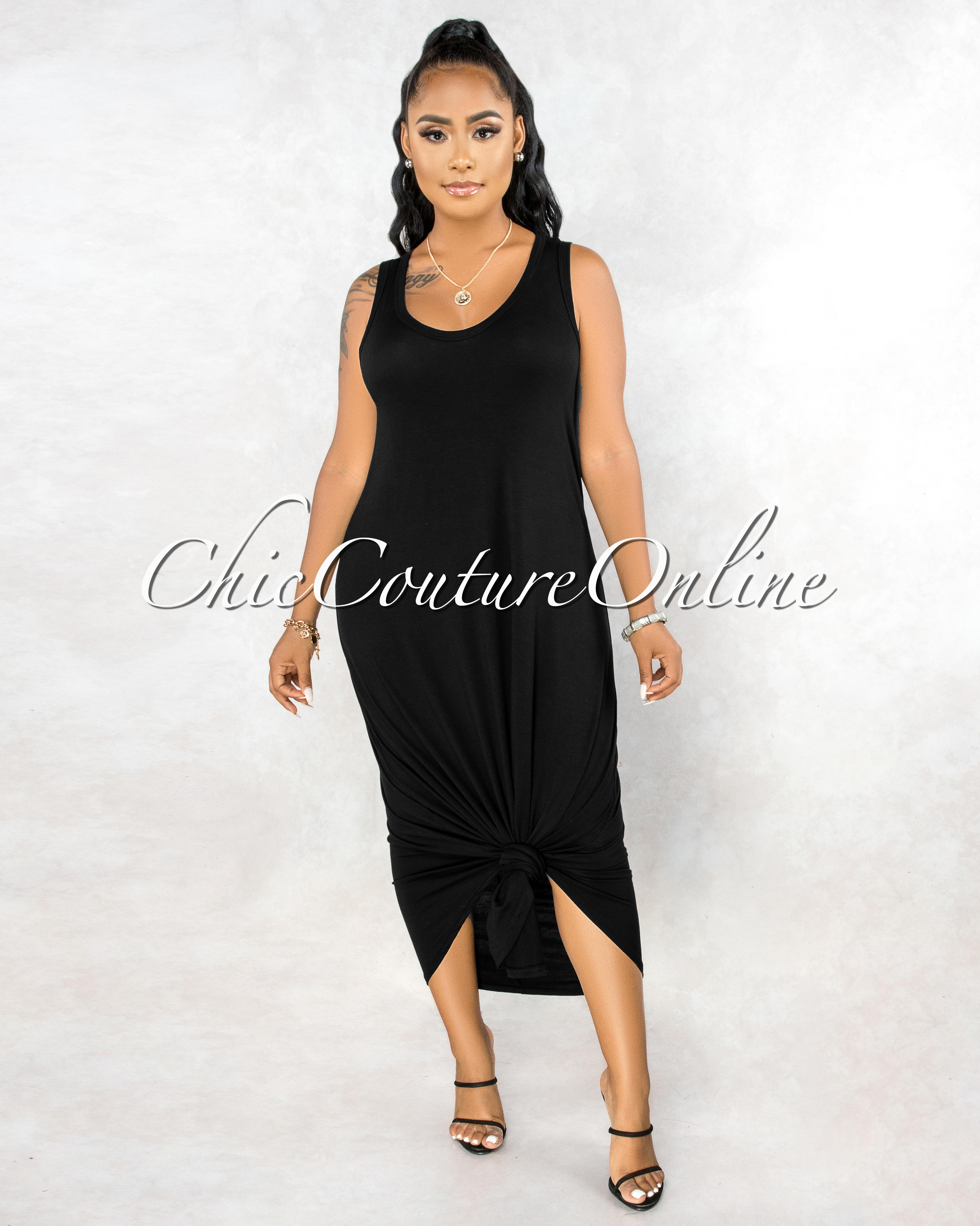 Adonia Black Body-Con Tank CURVACEOUS Maxi Dress