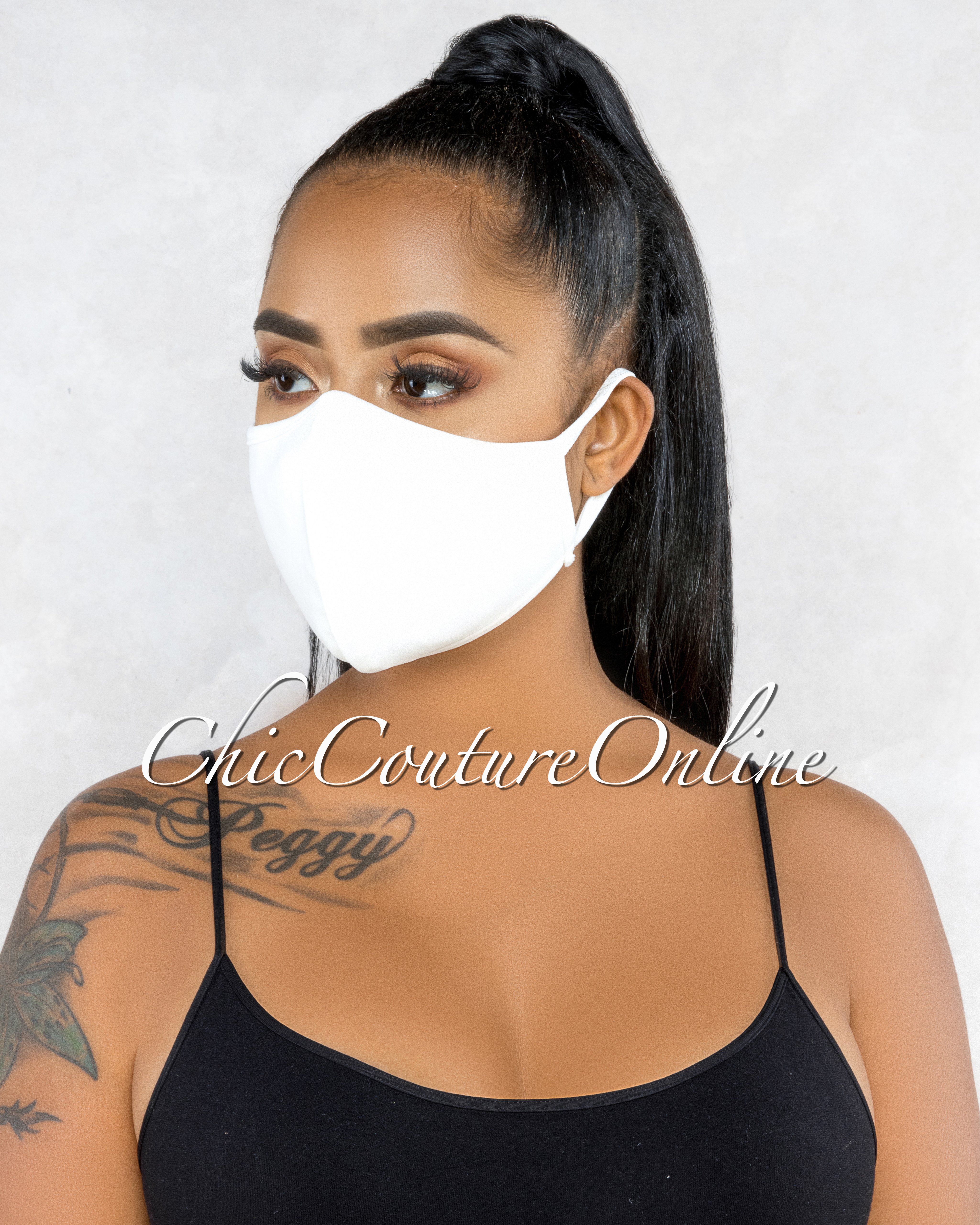 Marquisa Off-White Reusable Fashion Face Mask