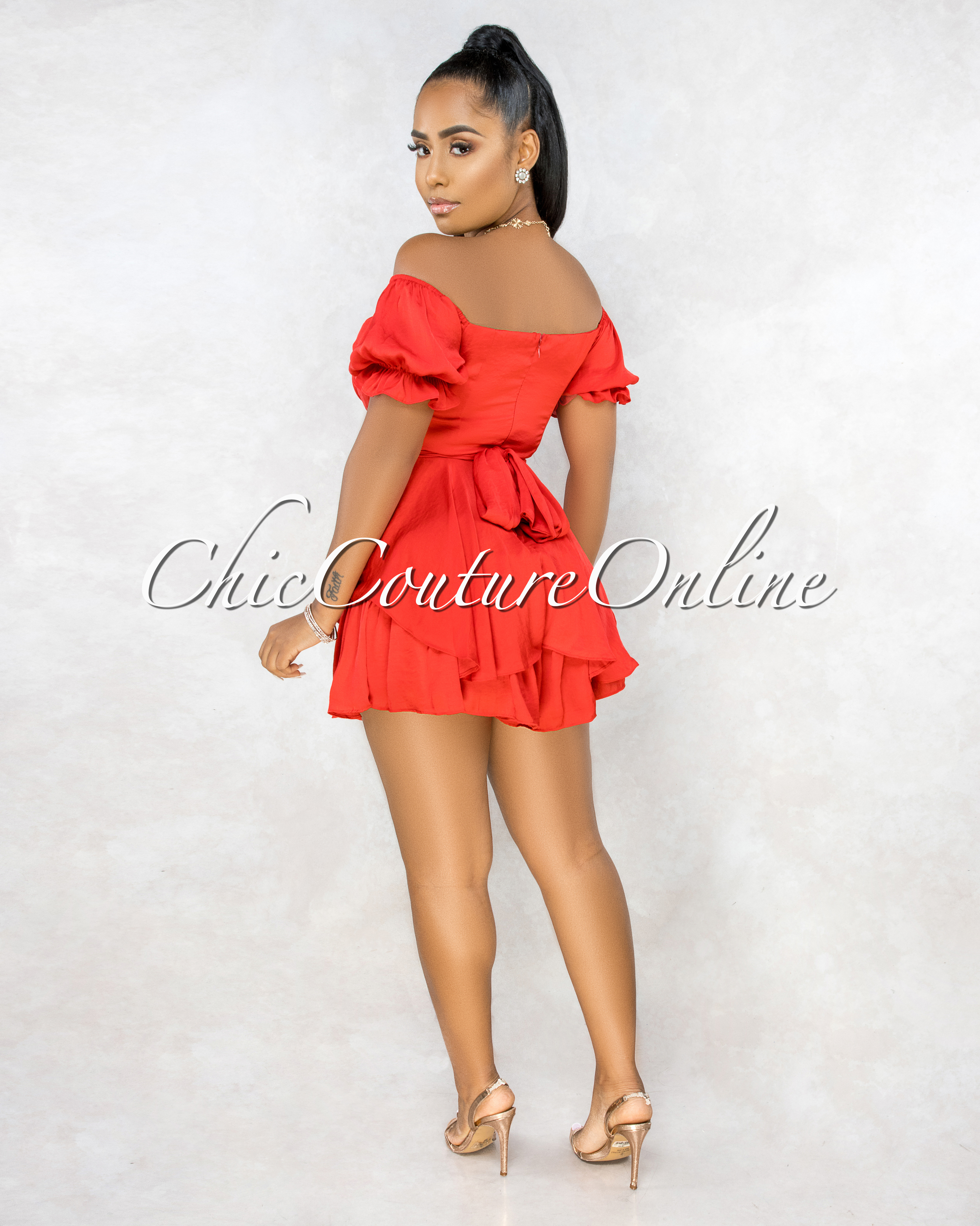 Zach Red Front Overlay Ruffle Romper