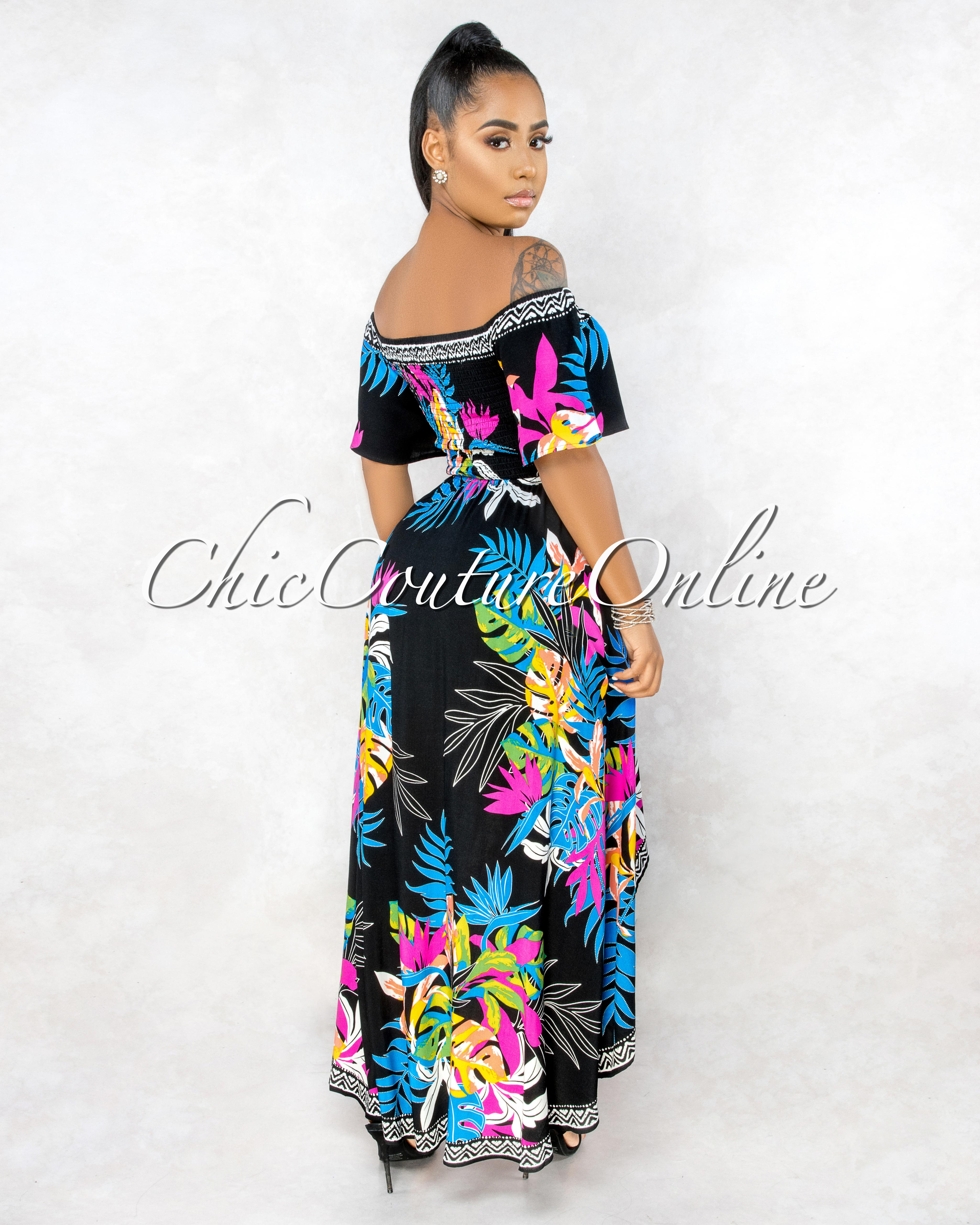 Yalena Black Floral Smocked Top High-Low Maxi Dress
