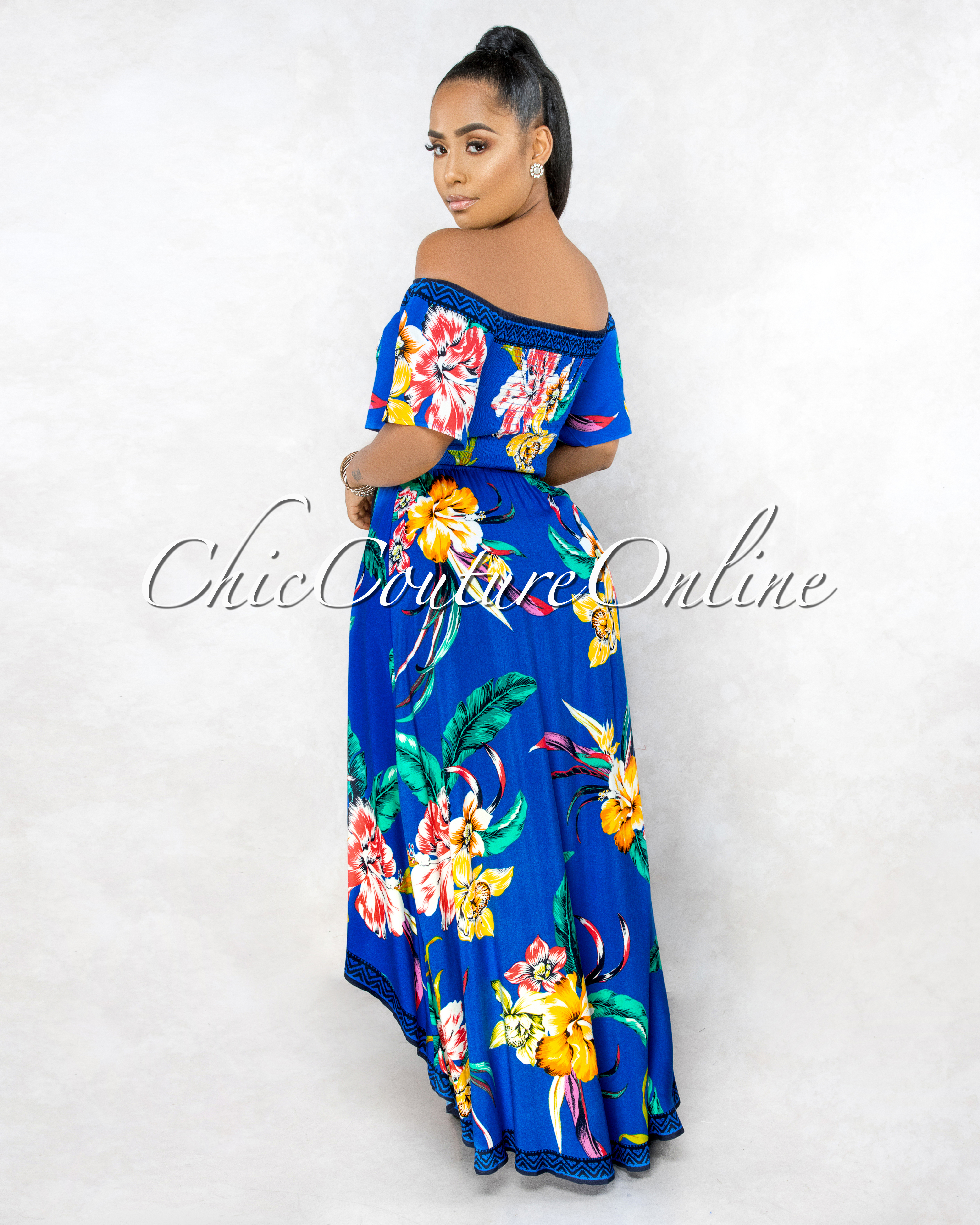 Yalena Royal Blue Floral Smocked Top High-Low Maxi Dress