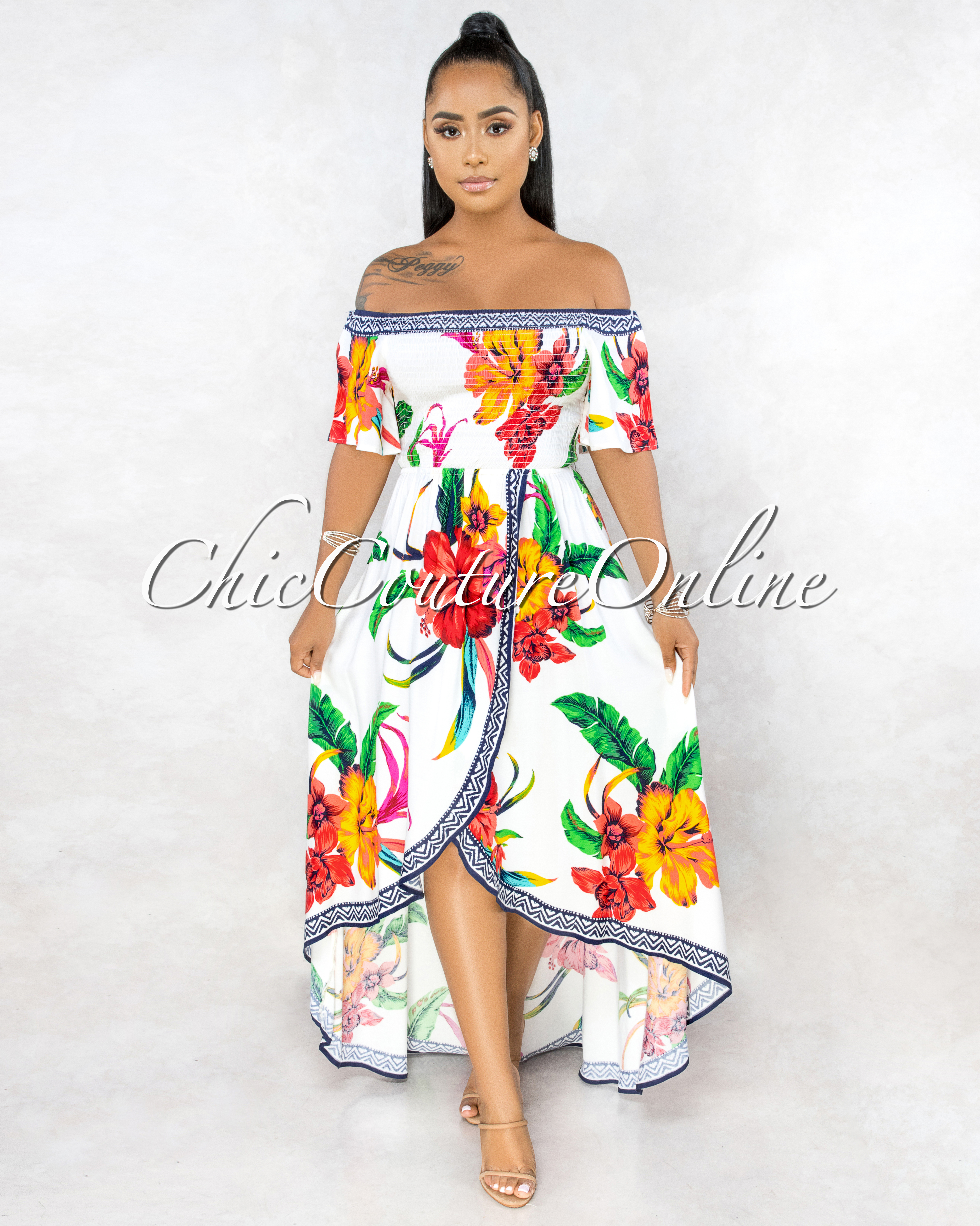Yalena Off-White Floral Smocked Top High-Low Maxi Dress