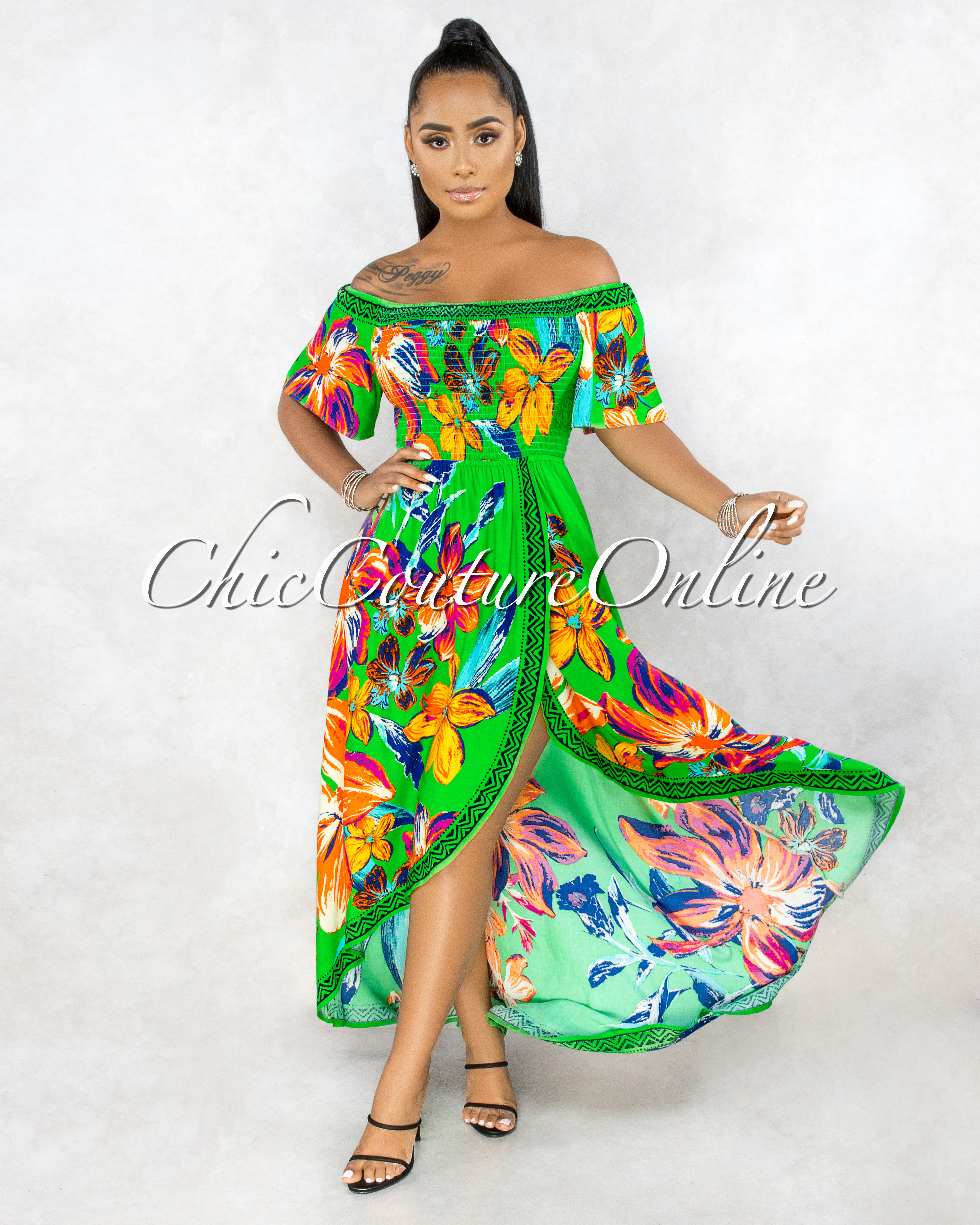 Yalena Kelly Green Floral Smocked Top High-Low Maxi Dress