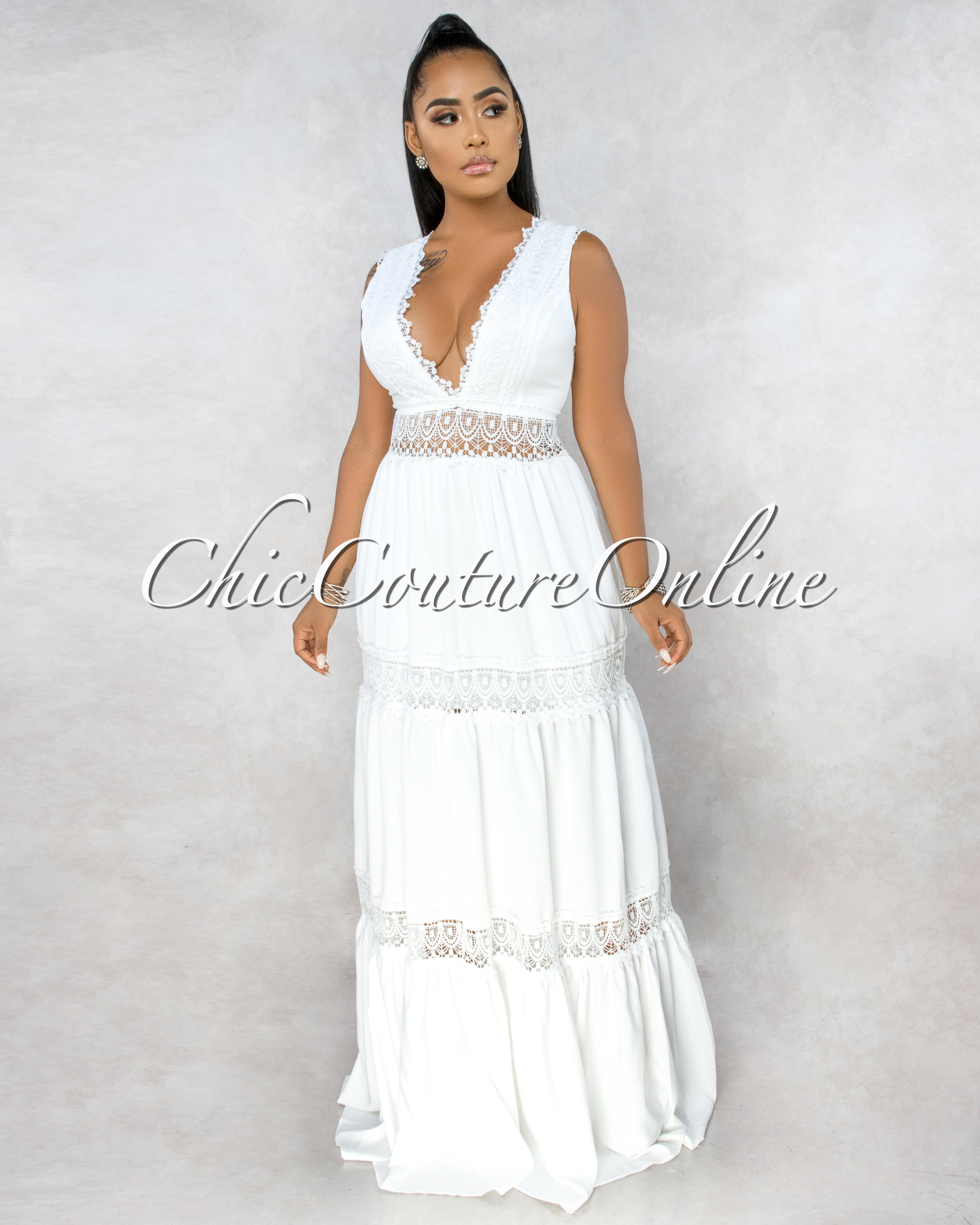 Zemirah Off-White Crochet See-Through Details Maxi Dress