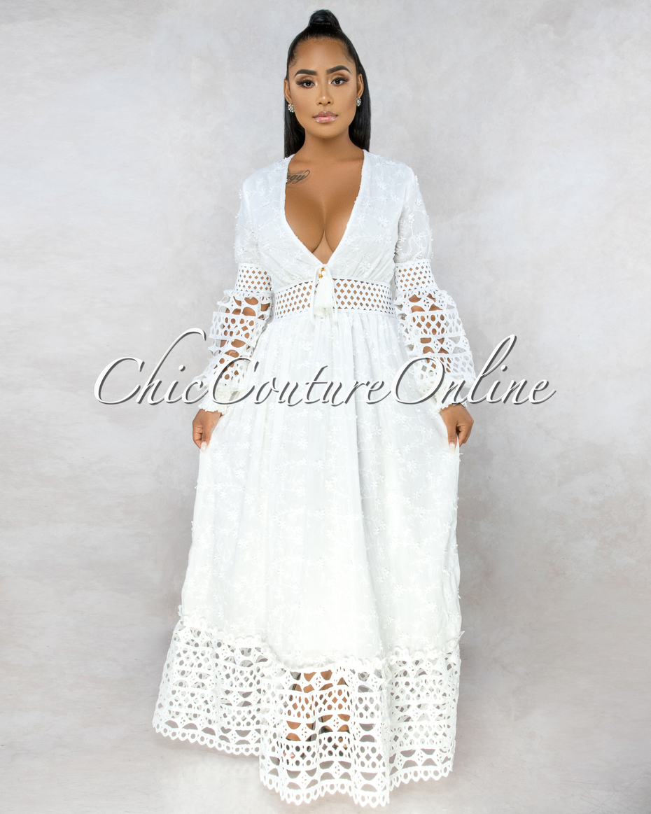 Theorona Off-White Embroidery Crochet Details Maxi Dress