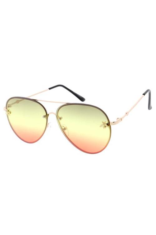Suri Olive/Red Gradient Bee Sunglasses