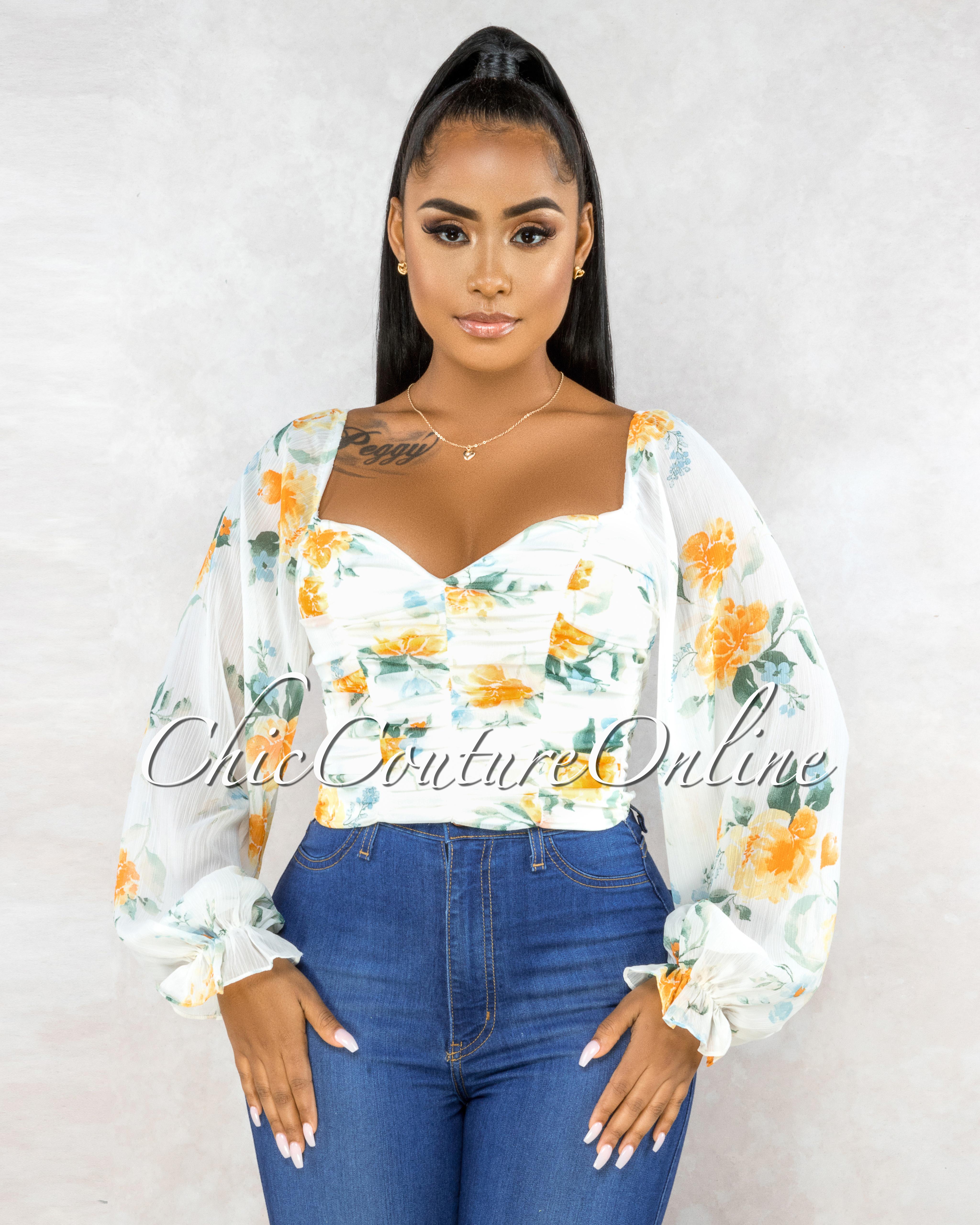Larkyn Off-White Multi-Color Floral Print Crop Top