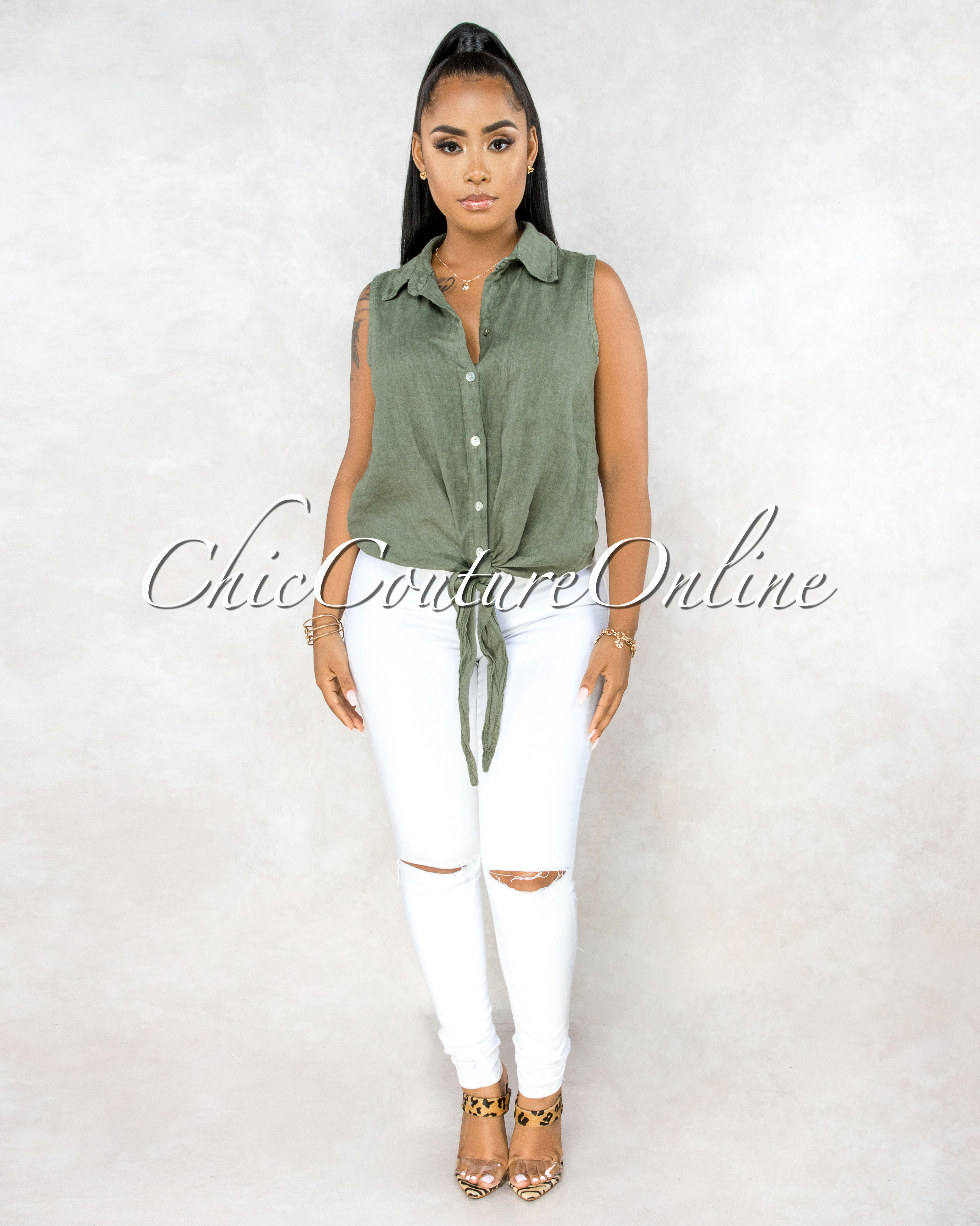 Massimo Olive Green Front Tie Sleeveless LINEN Top
