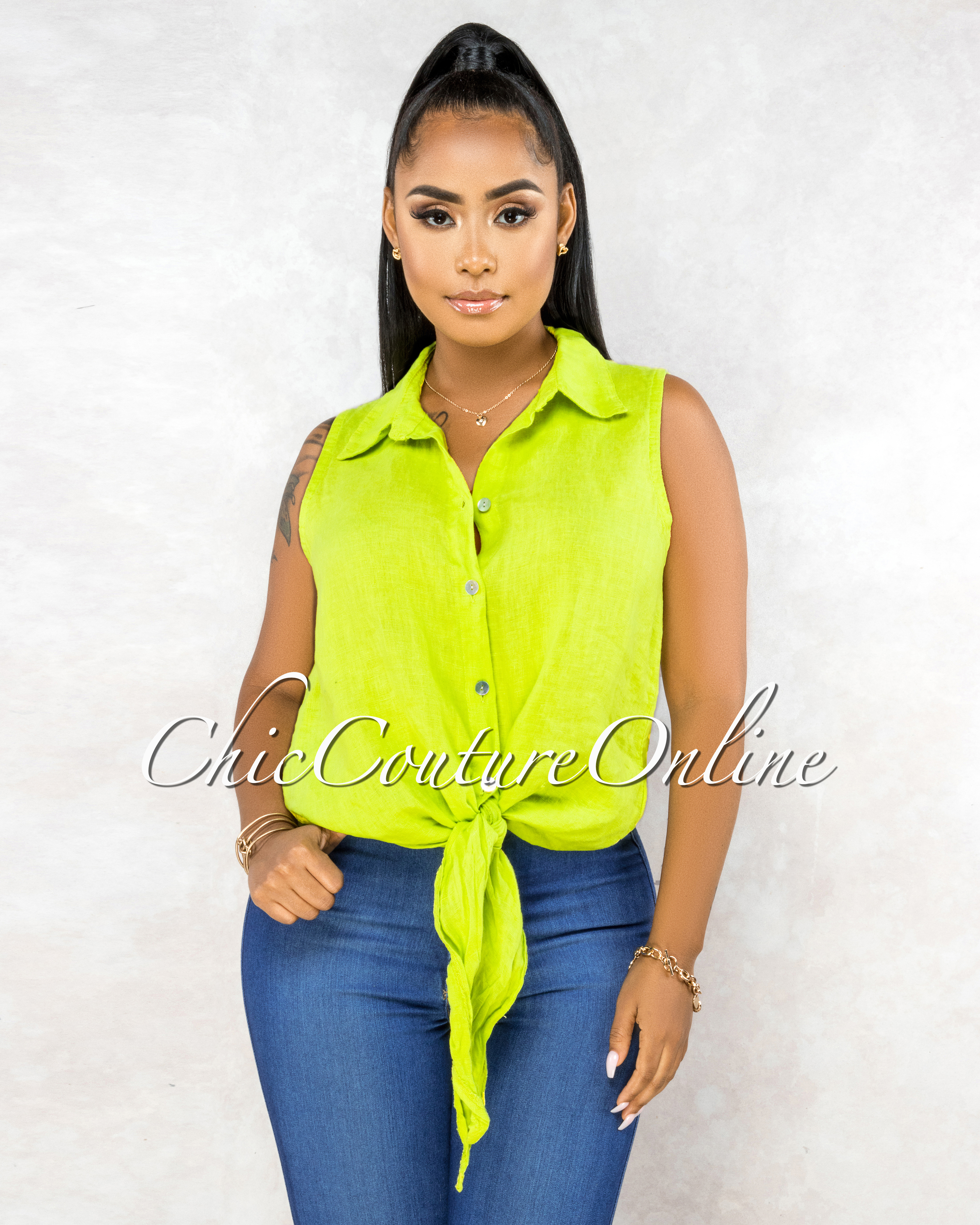 Massimo Key-Lime Front Tie Sleeveless LINEN Top