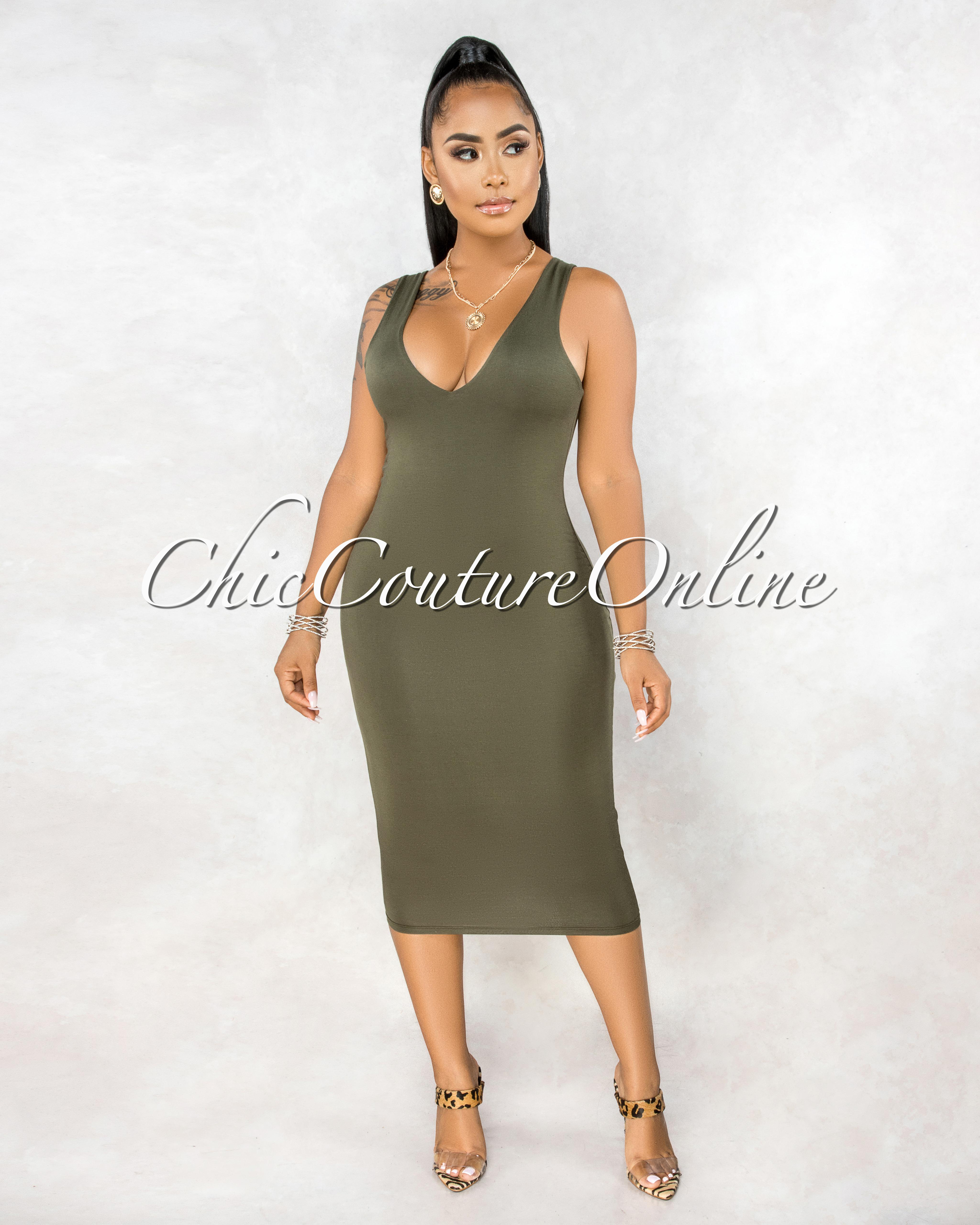 Crystal Olive Green Slip Midi Dress