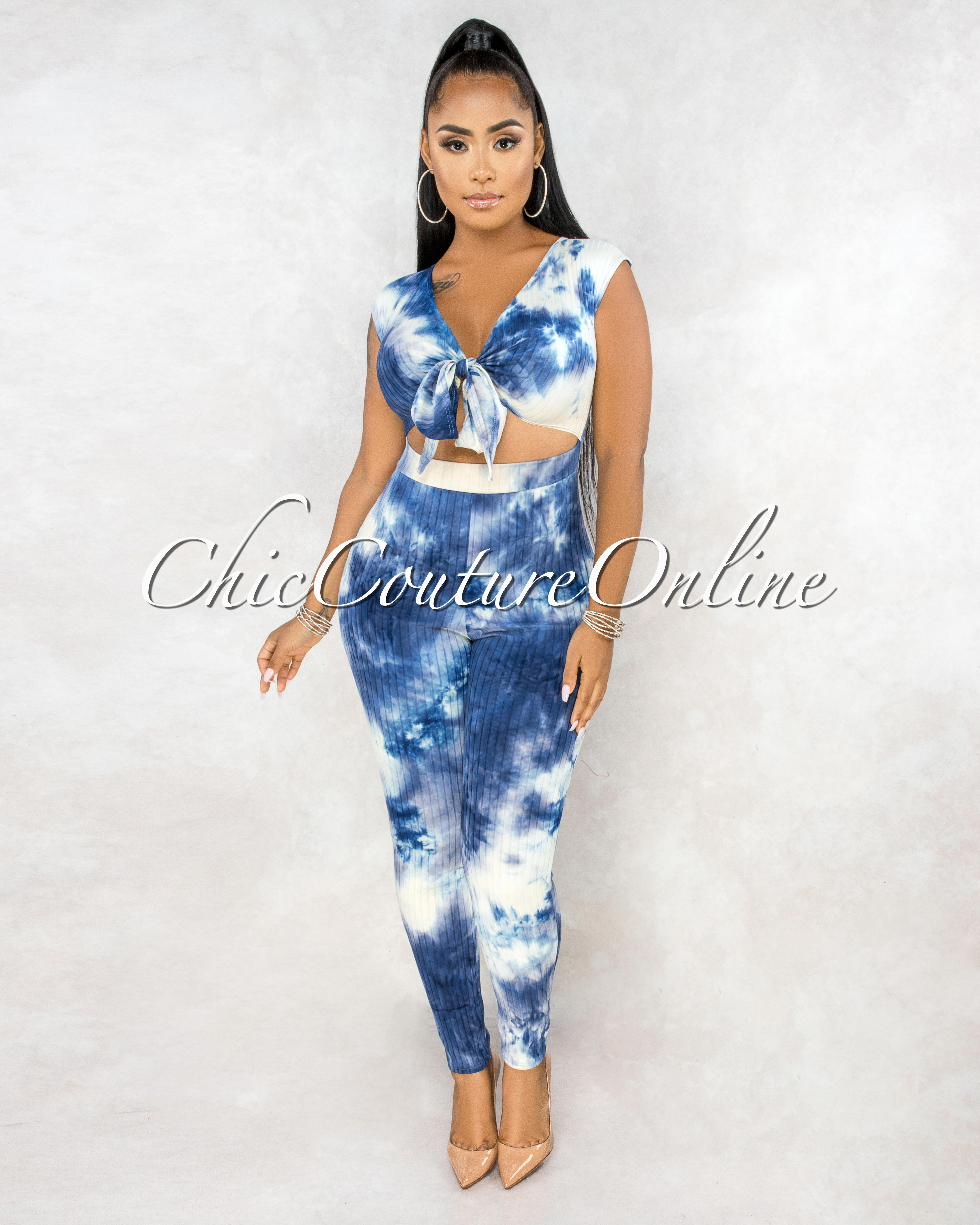 Grecia Blue Cream Tie-Dye Key-hole Front Jumpsuit