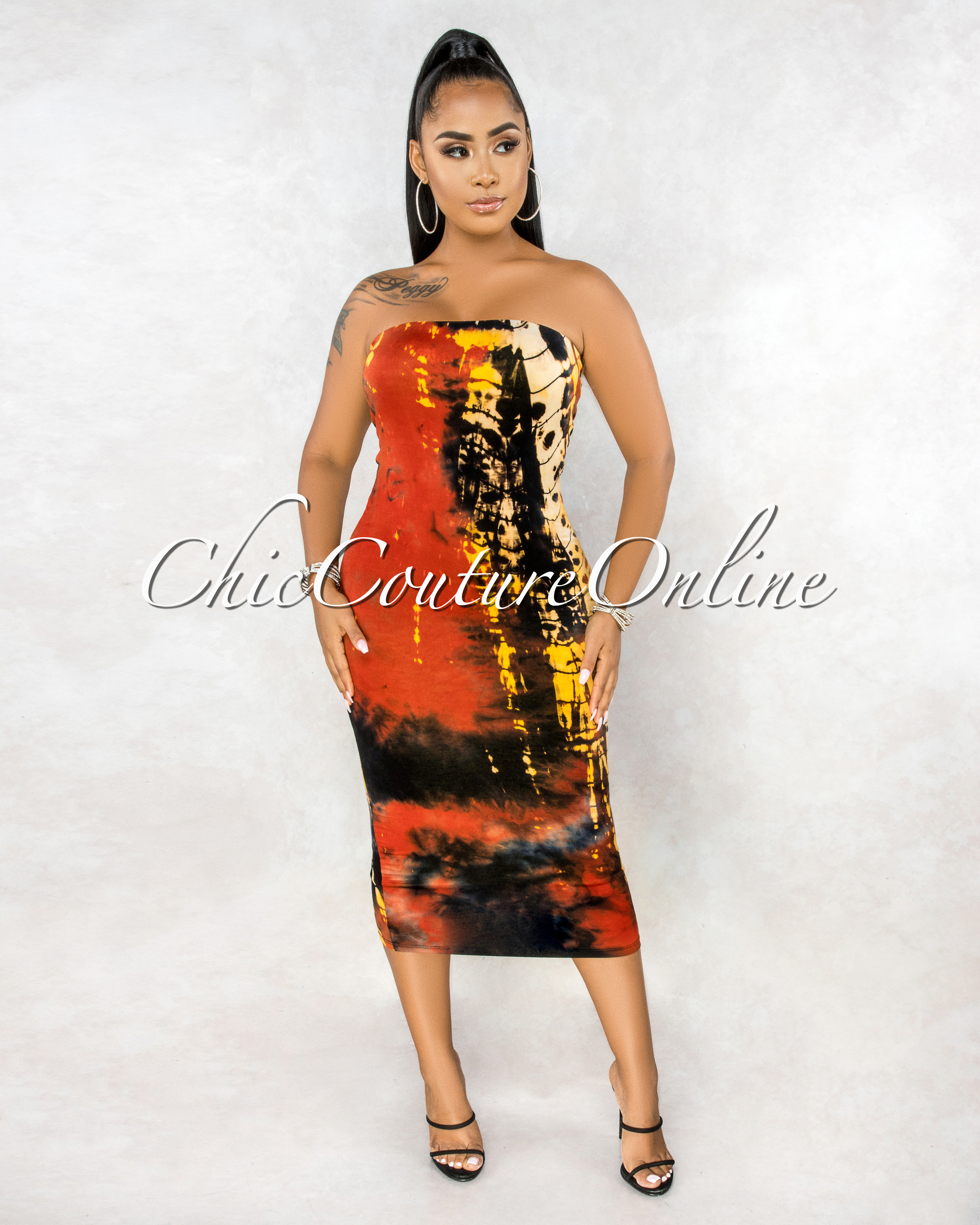 Warren Rust Orange Black Tie-Dye Tow Way Tube Dress