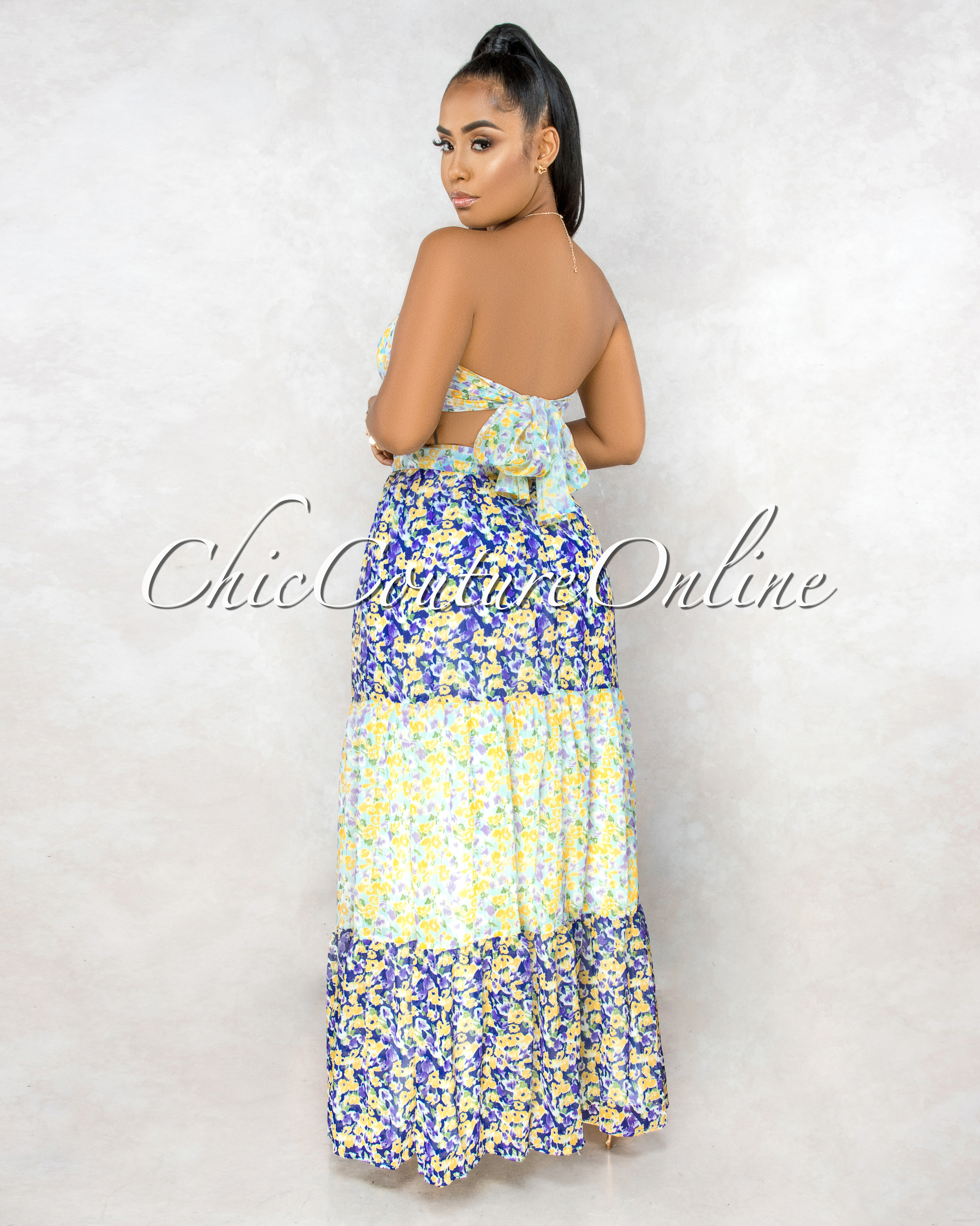 Nimah Yellow Blue Floral Print Two Piece Skirt Set