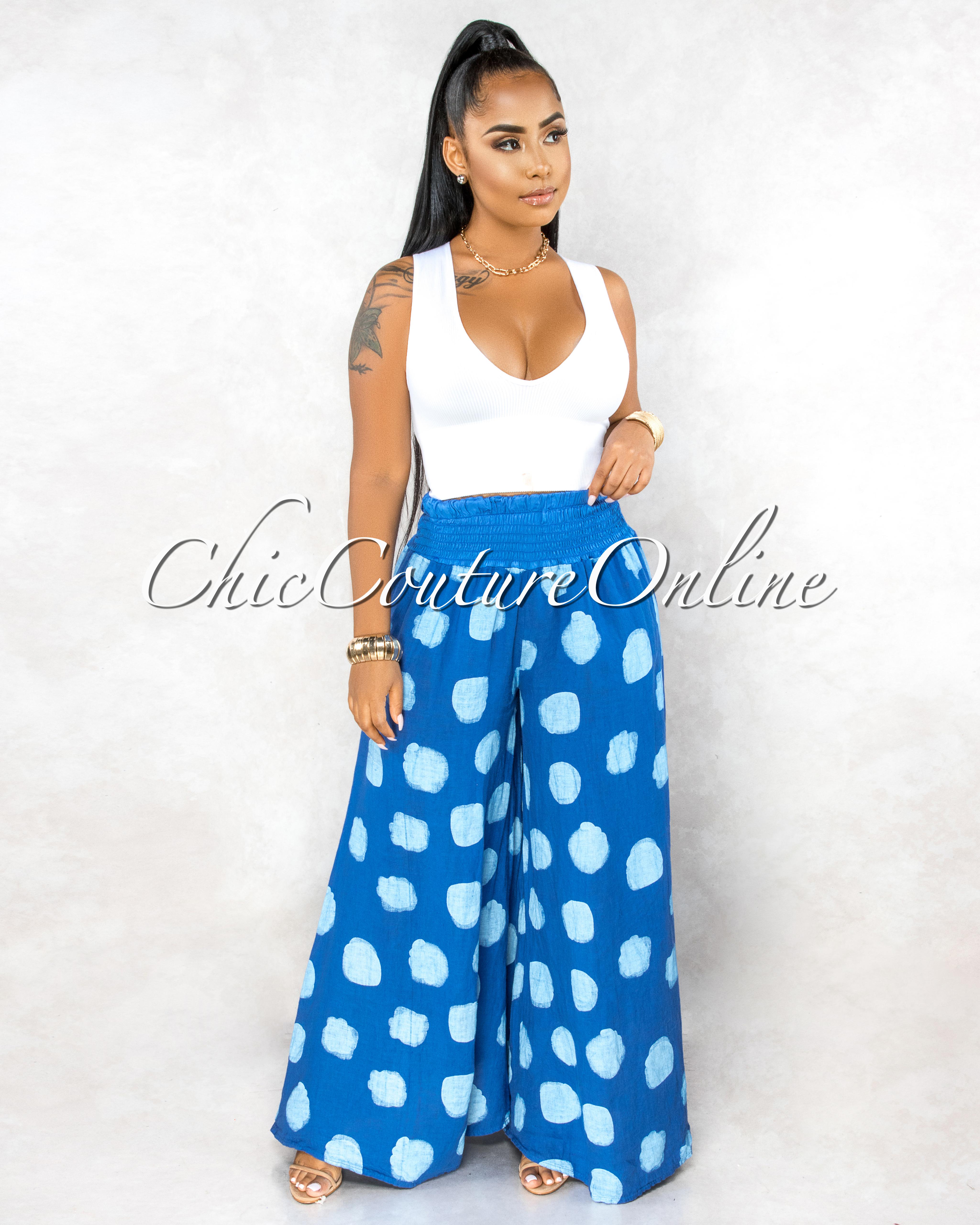 Albina Royal-Blue Polka Dots Wide Legs LINEN Pants
