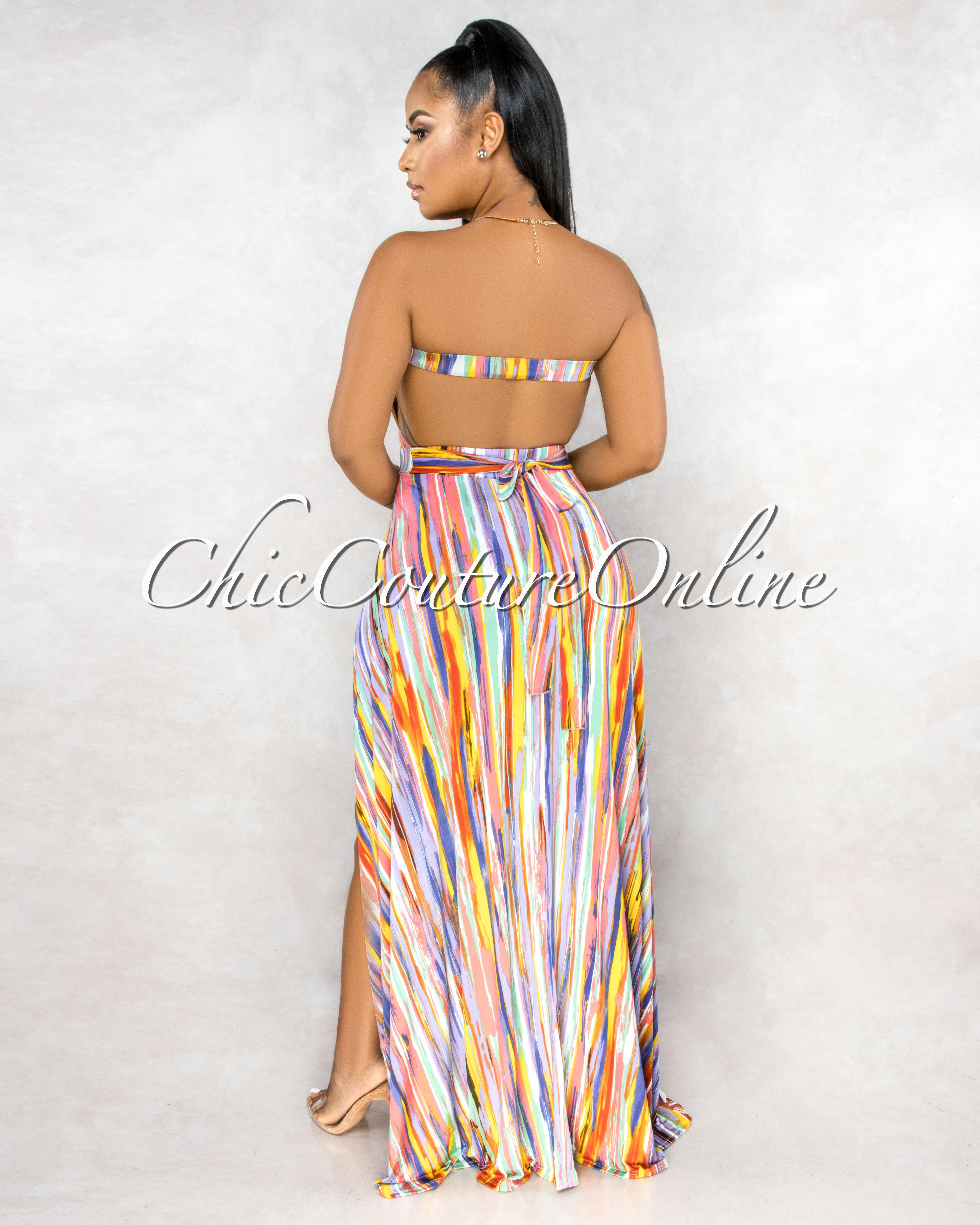 Zeraldina Coral Lilac Multi-Color Print Slit Legs Bodysuit Maxi Dress