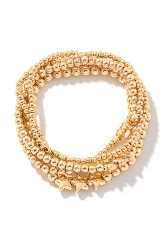 Ciara Gold Mixed Metallic Beaded Bracelets