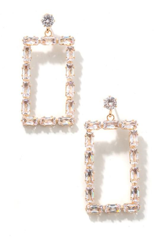 Marra Gold Baguette Rectangle Earrings