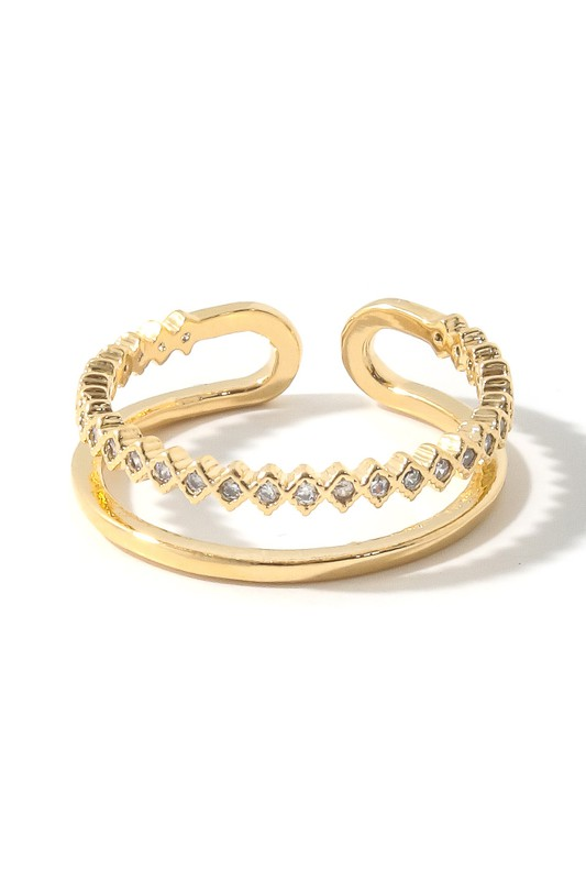 Emerson Gold Row Studded Open Band Ring
