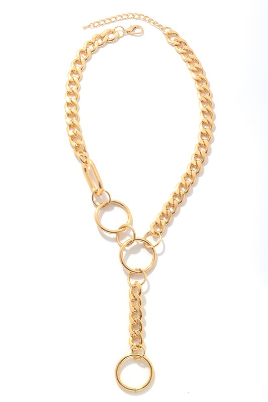 Marianna Gold Simple Chain Link Lariat Necklace