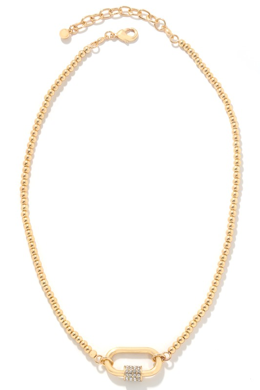 Emmy Gold Carabiner Charm Chain Necklace