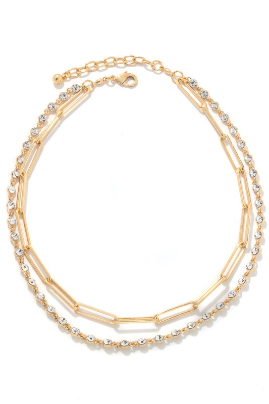 Rosalyn Gold Oval Chain and Rhinestones Necklace