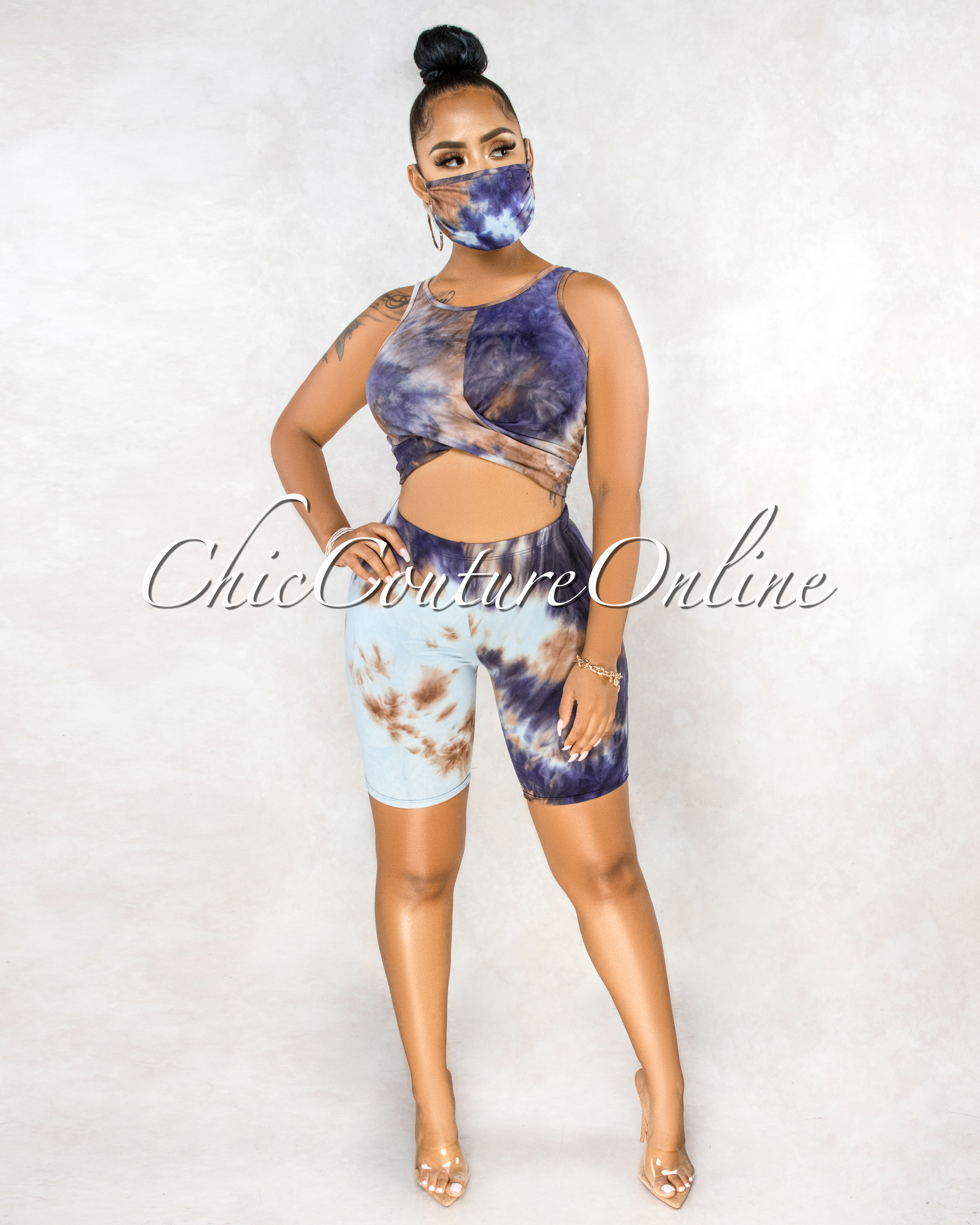 Coffey Blue Brown Tie-Dye Matching Mask Set