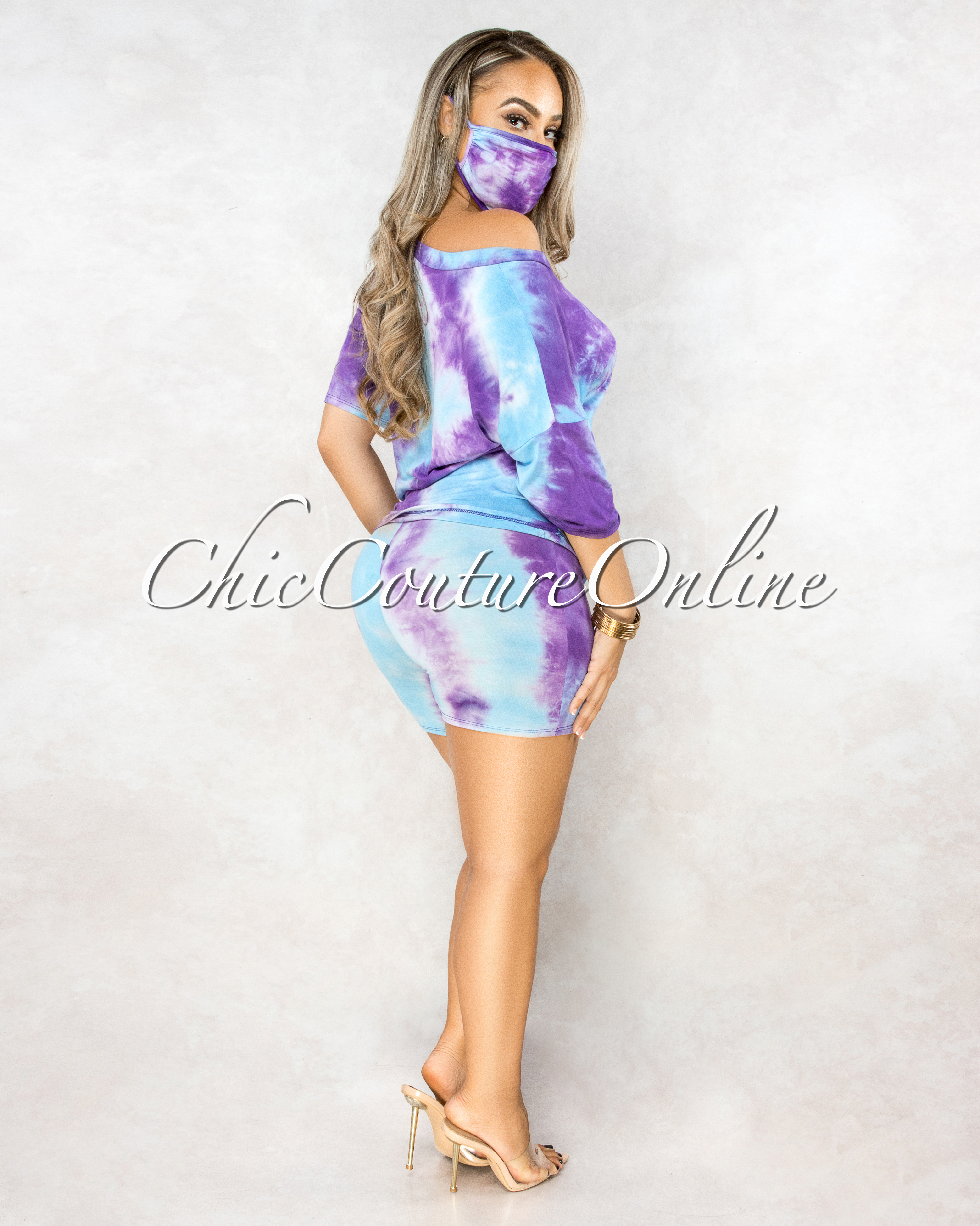 Gevira Purple Turquoise Tie-Dye Matching Mask Three Piece Set