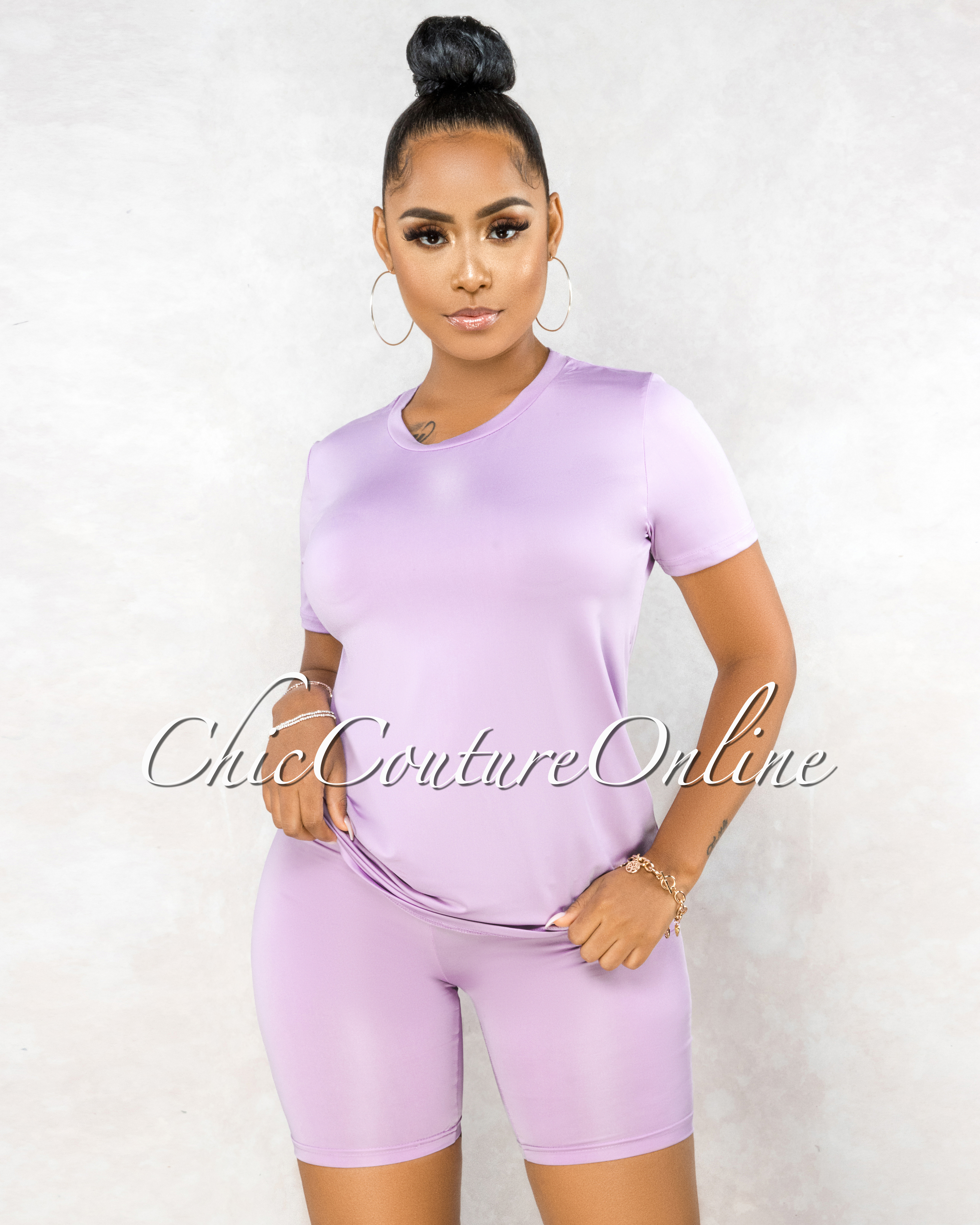 Courtnie Lavender Over-sized Shirt Bike Shorts Set