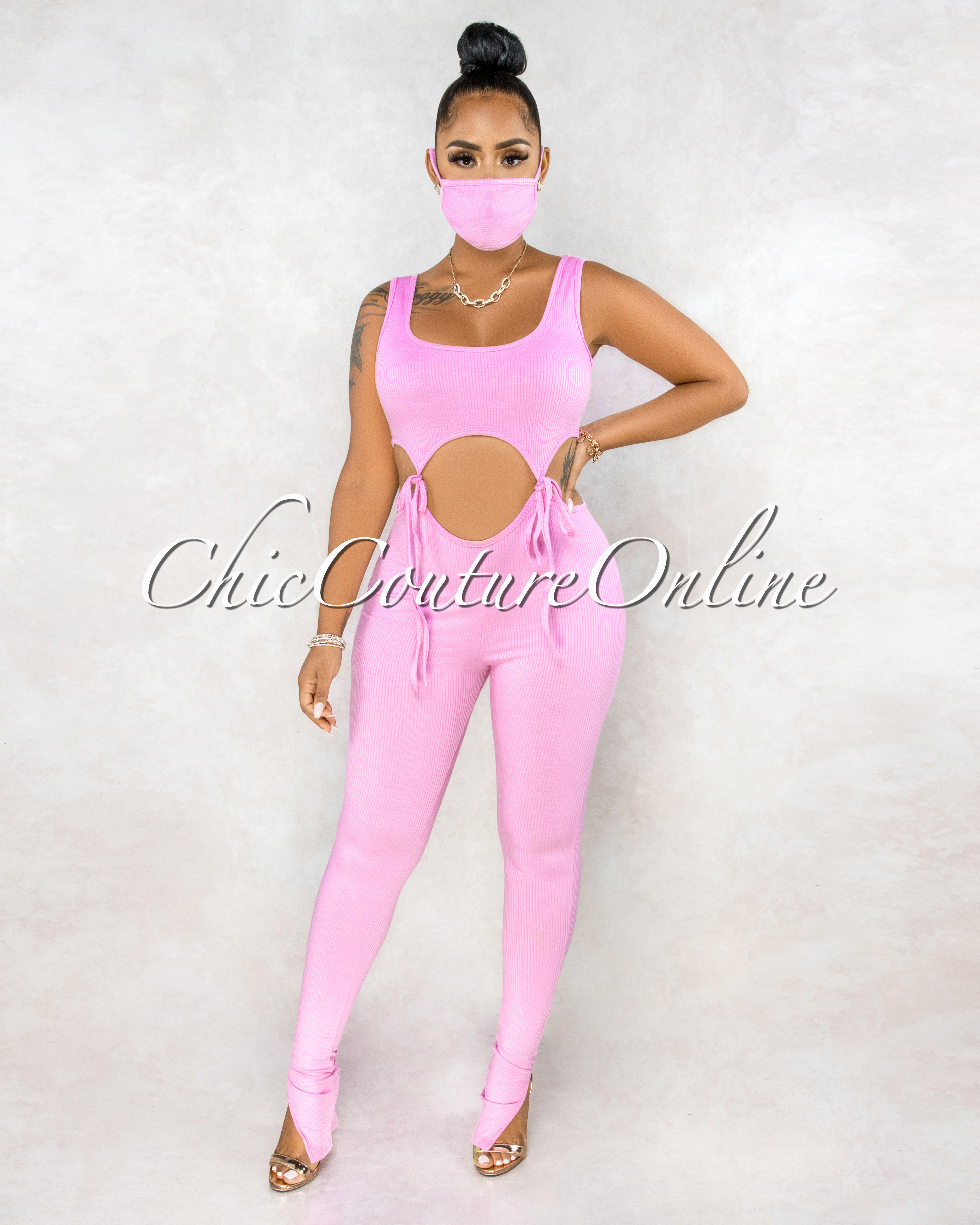 Roderica Pink Cut-Out Self-Tie Waist Jumpsuit &. Mask