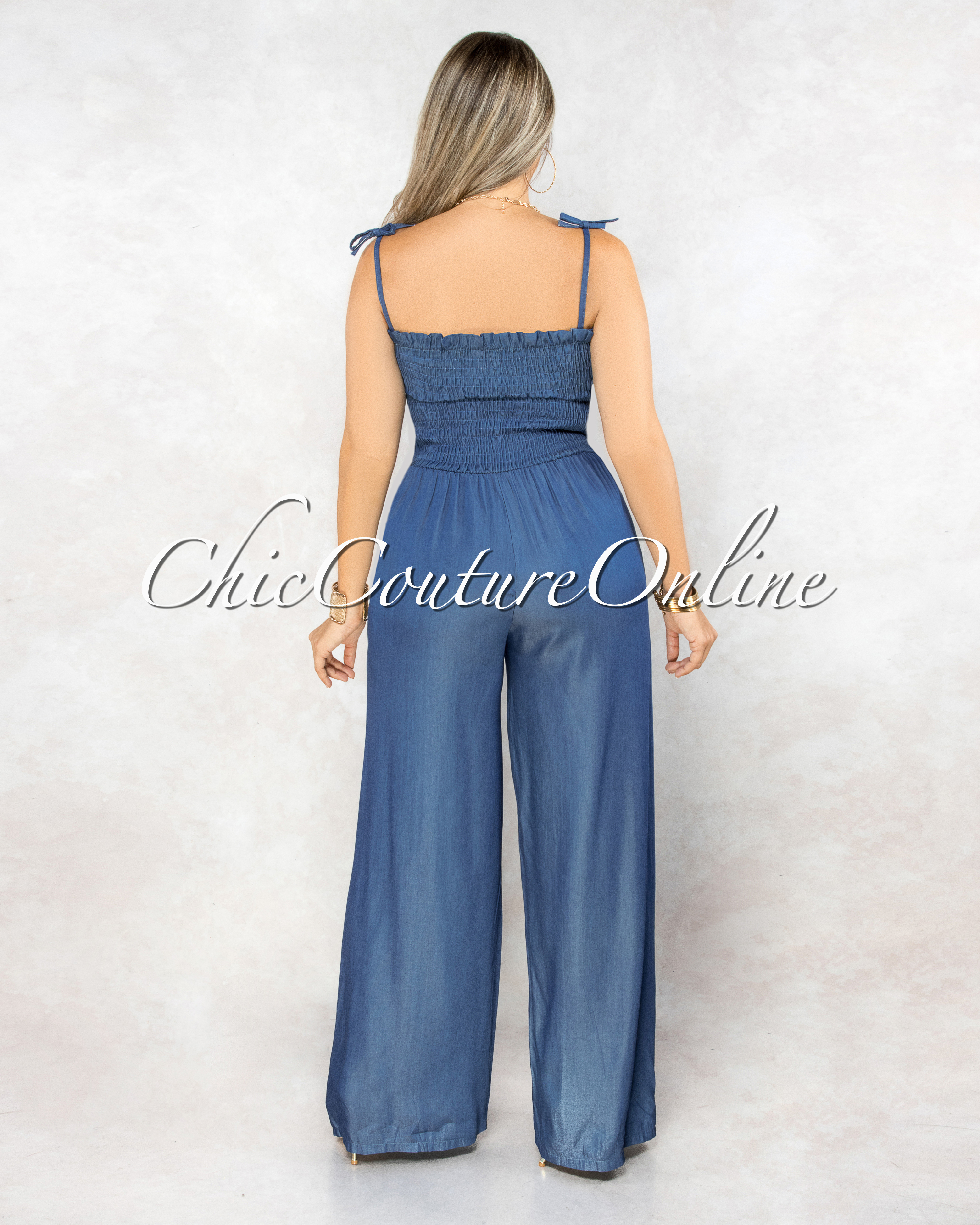 Hurley Dark Blue Chambray Smocked Top Jumpsuit