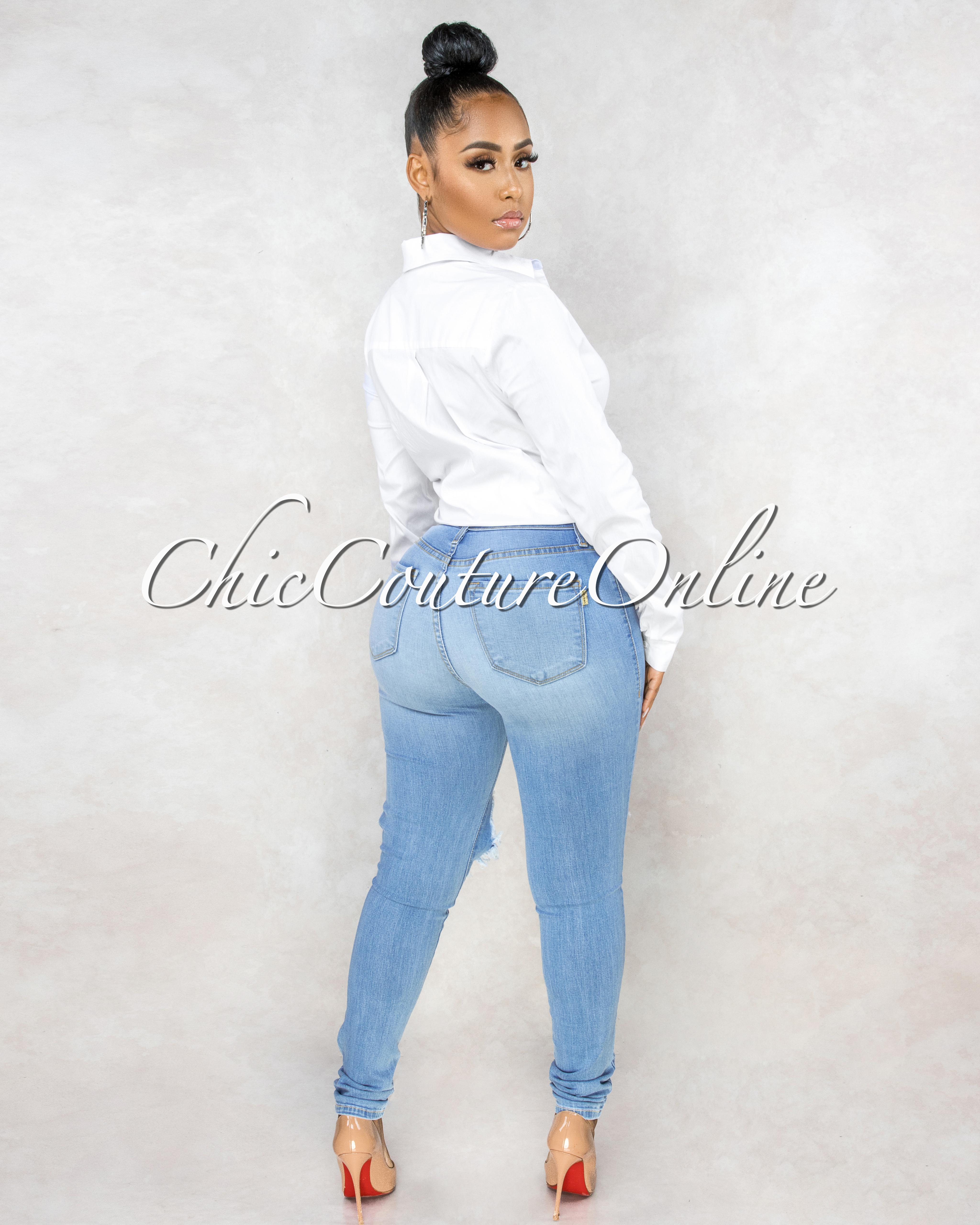 Evinna Light Wash Destroyed Denim Mid Waist Jeans