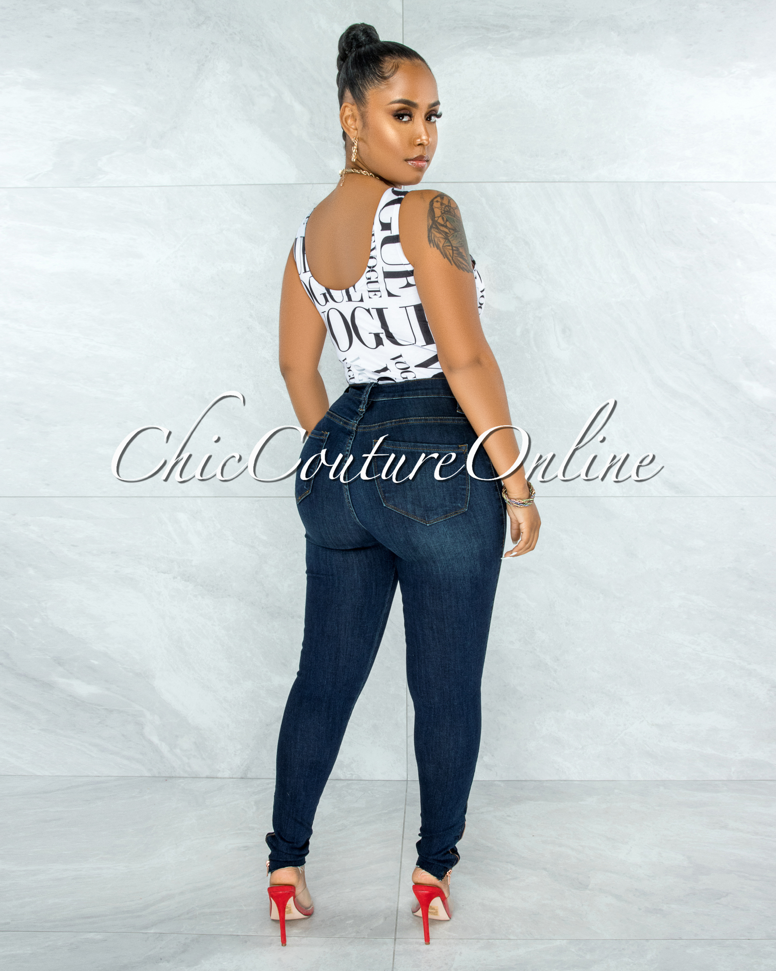 Shana Dark Denim High-Waist Destroyed Knee Skinny Jeans