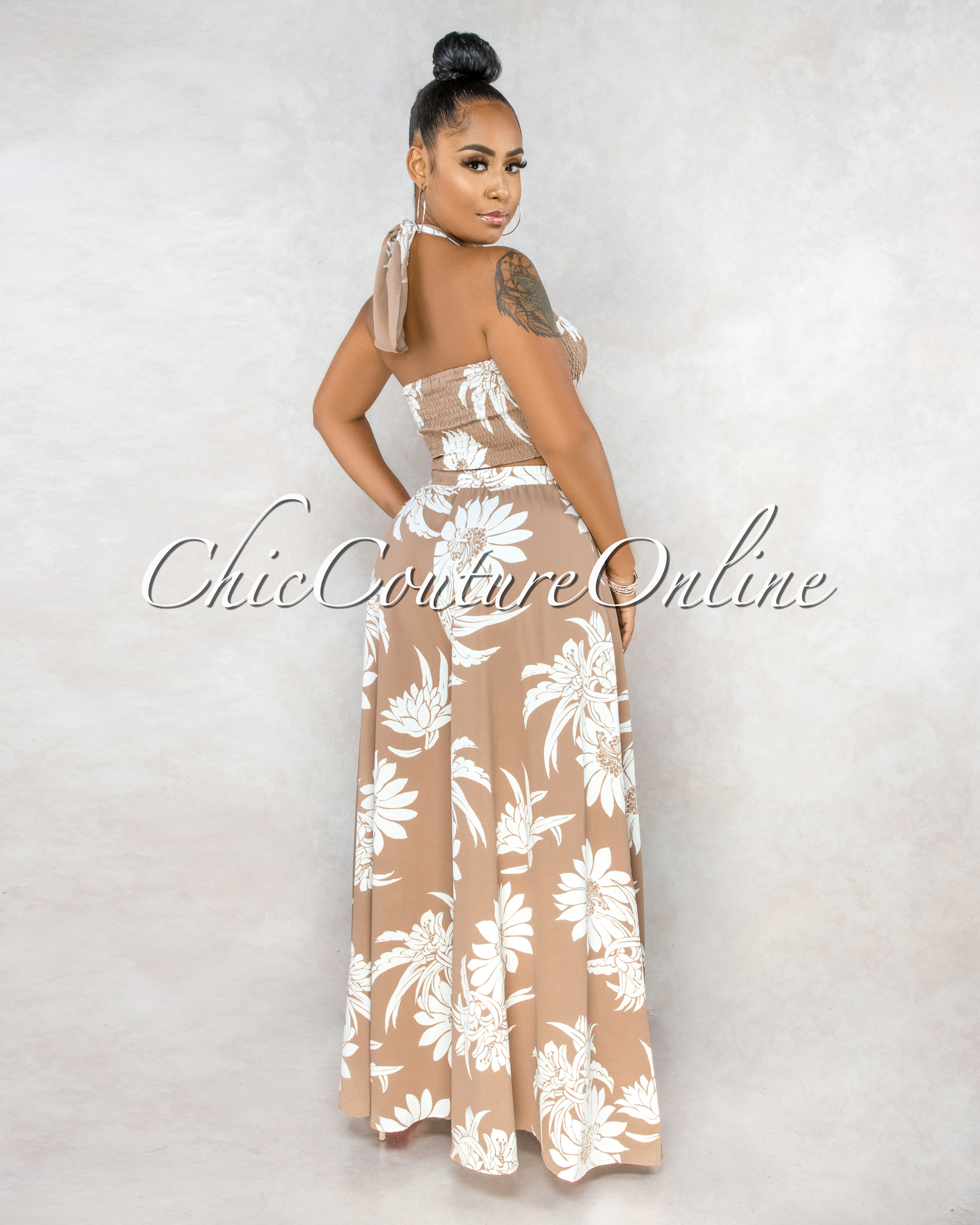 Phenice Mocha White Ruched Top Wide Pants Set