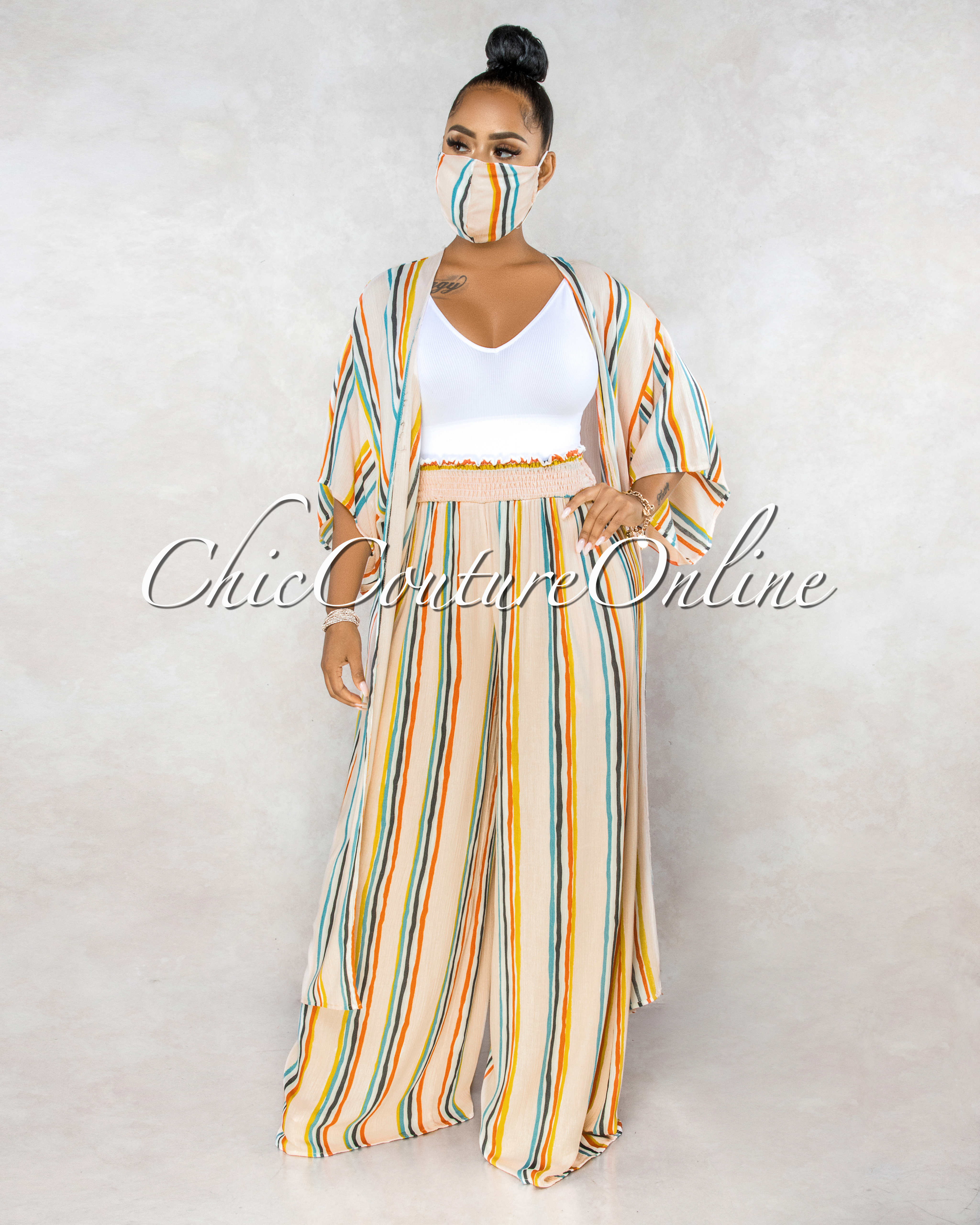 Lanelle Rose Multi Stripes Pants Duster & Mask Three Piece Set