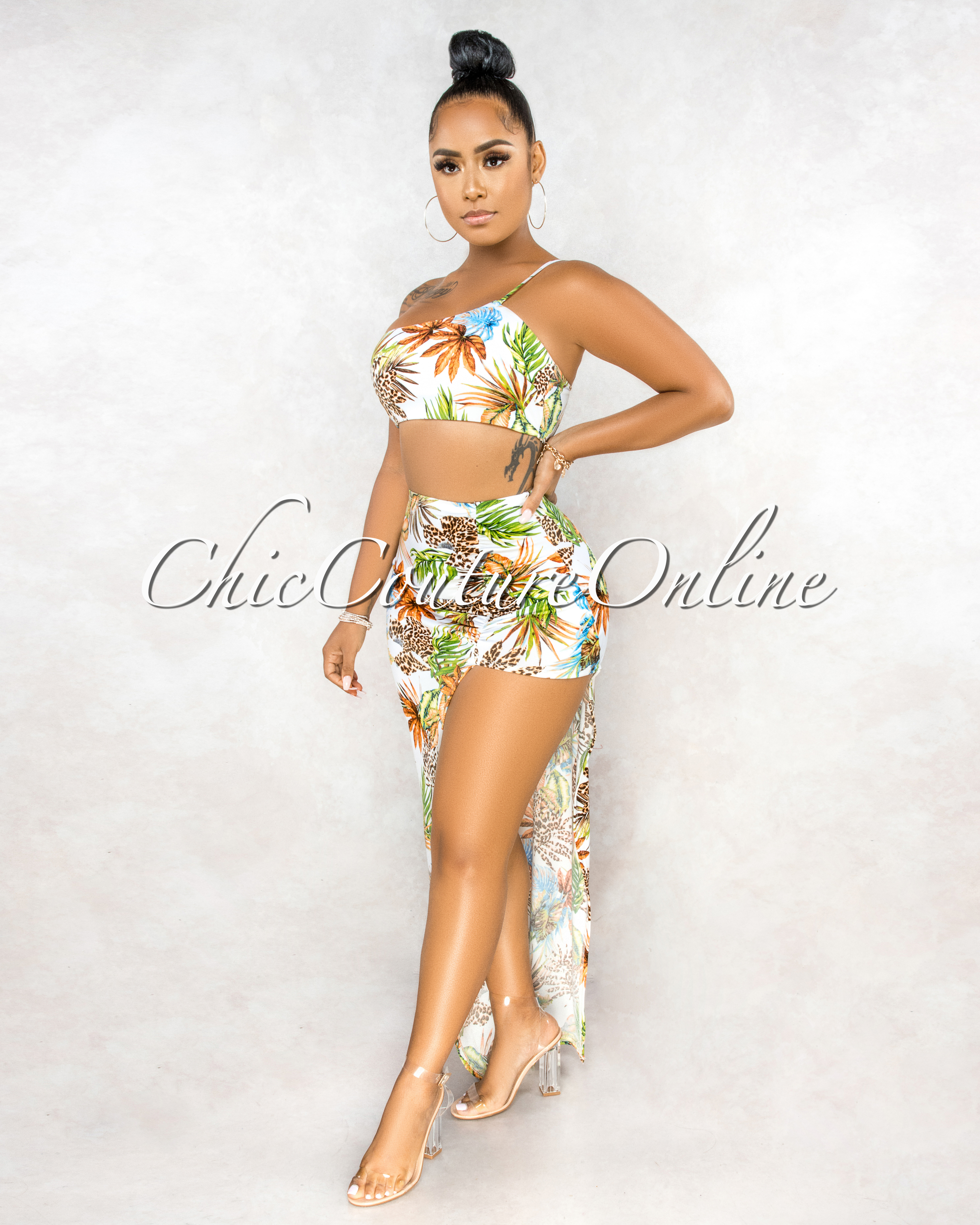 Glauce Off-White Multi Leaf Print Asymmetrical Skirt Two Piece Set